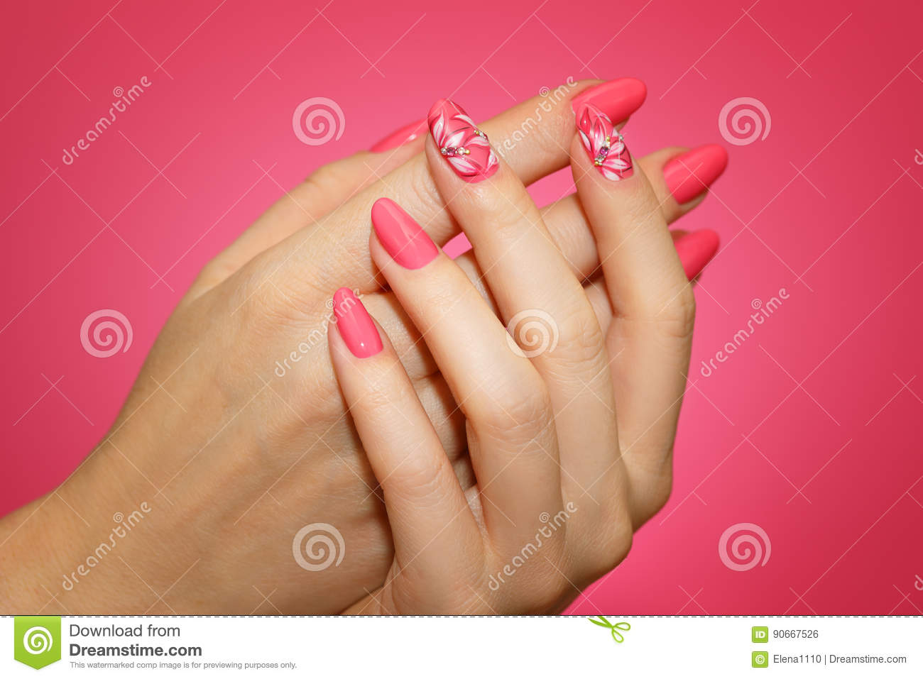 Manicured Woman`s Nails With Pink Nailart With Flowers. Stock Photo ...