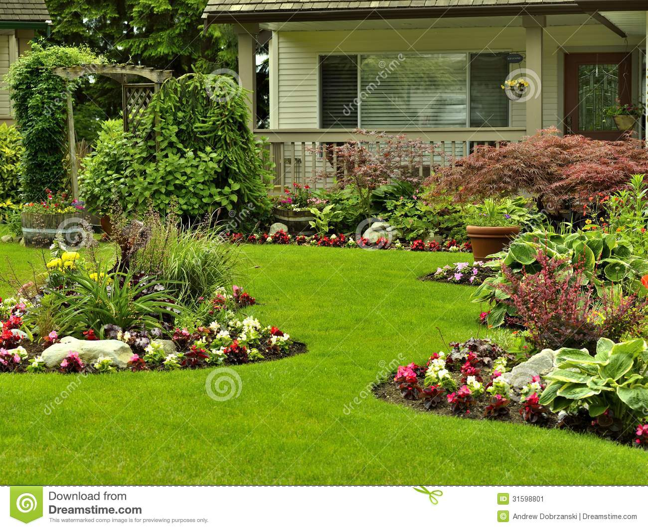 Front yard landscaping stock image image of arrangement for Flower landscape