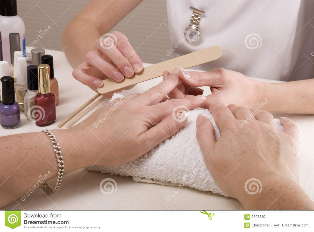 Manicurist Filing Womans Nails Stock Photo Image 3307880