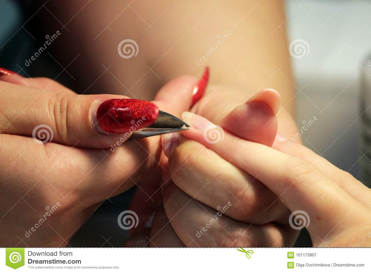 Manicurist At Training Courses Shows Students How To Handle Nails ...