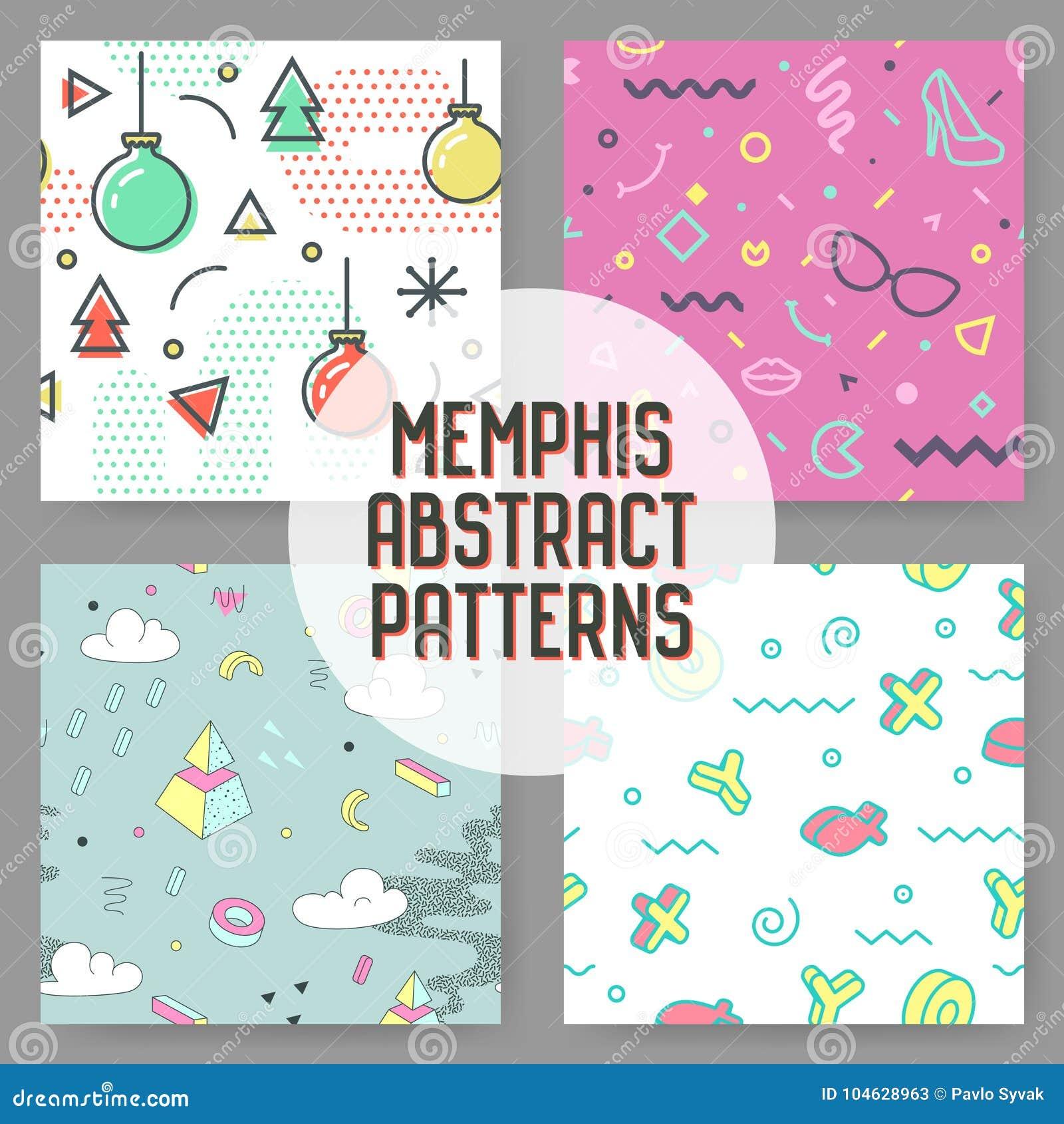 Download Manier Hipster Abstract Memphis Seamless Pattern Set Geometrische Vormenachtergrond De In Samenstelling Van De Jaren '80jaren '90 Vector Illustratie - Illustratie bestaande uit helder, ontwerp: 104628963
