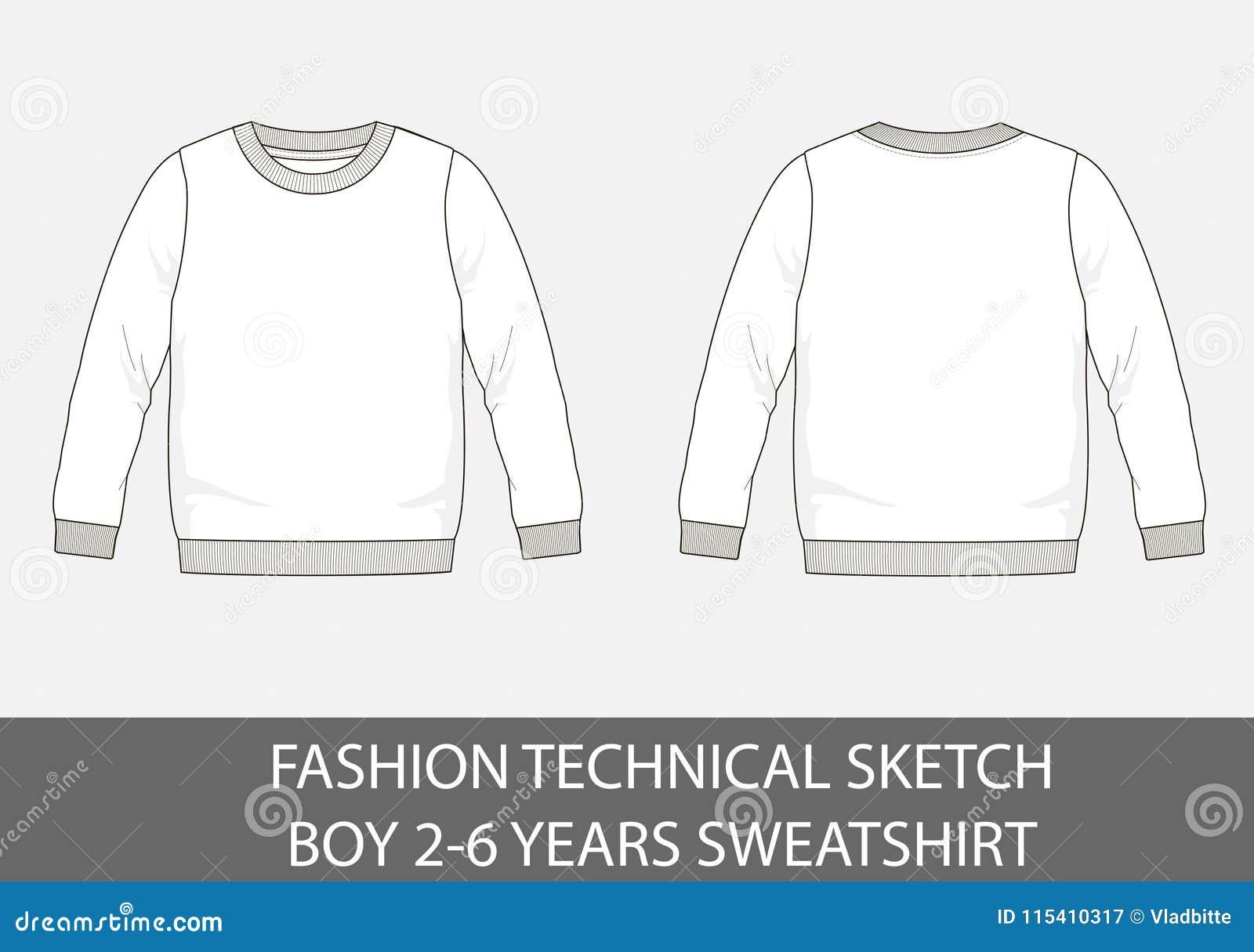 Manier technische schets voor jongens 2-6 jaar sweatshirt