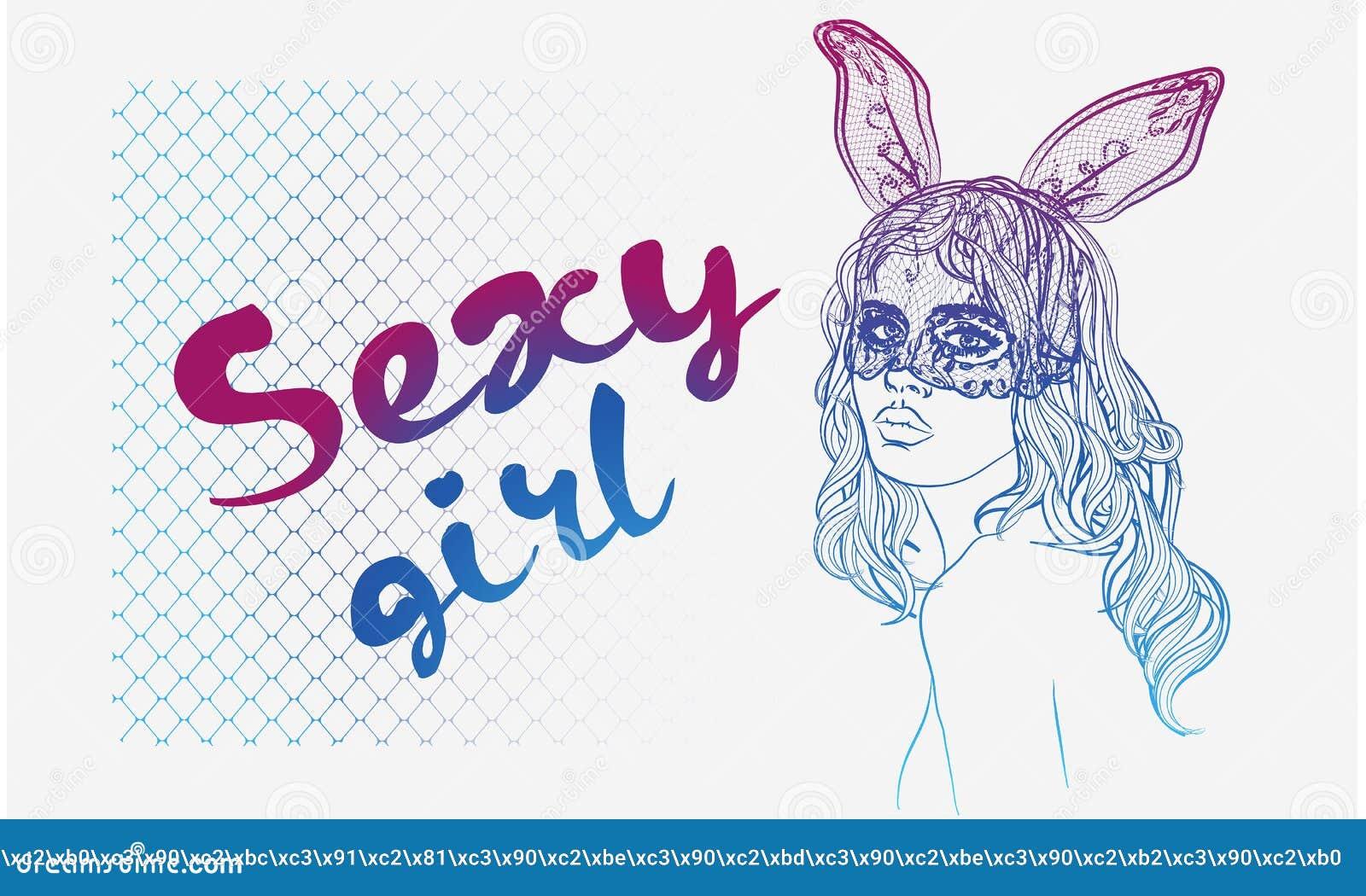 Download Manierillustratie Met Damegezicht En Konijnmeisje Met Een Masker Vector Illustratie - Illustratie bestaande uit vuil, chinees: 104627125