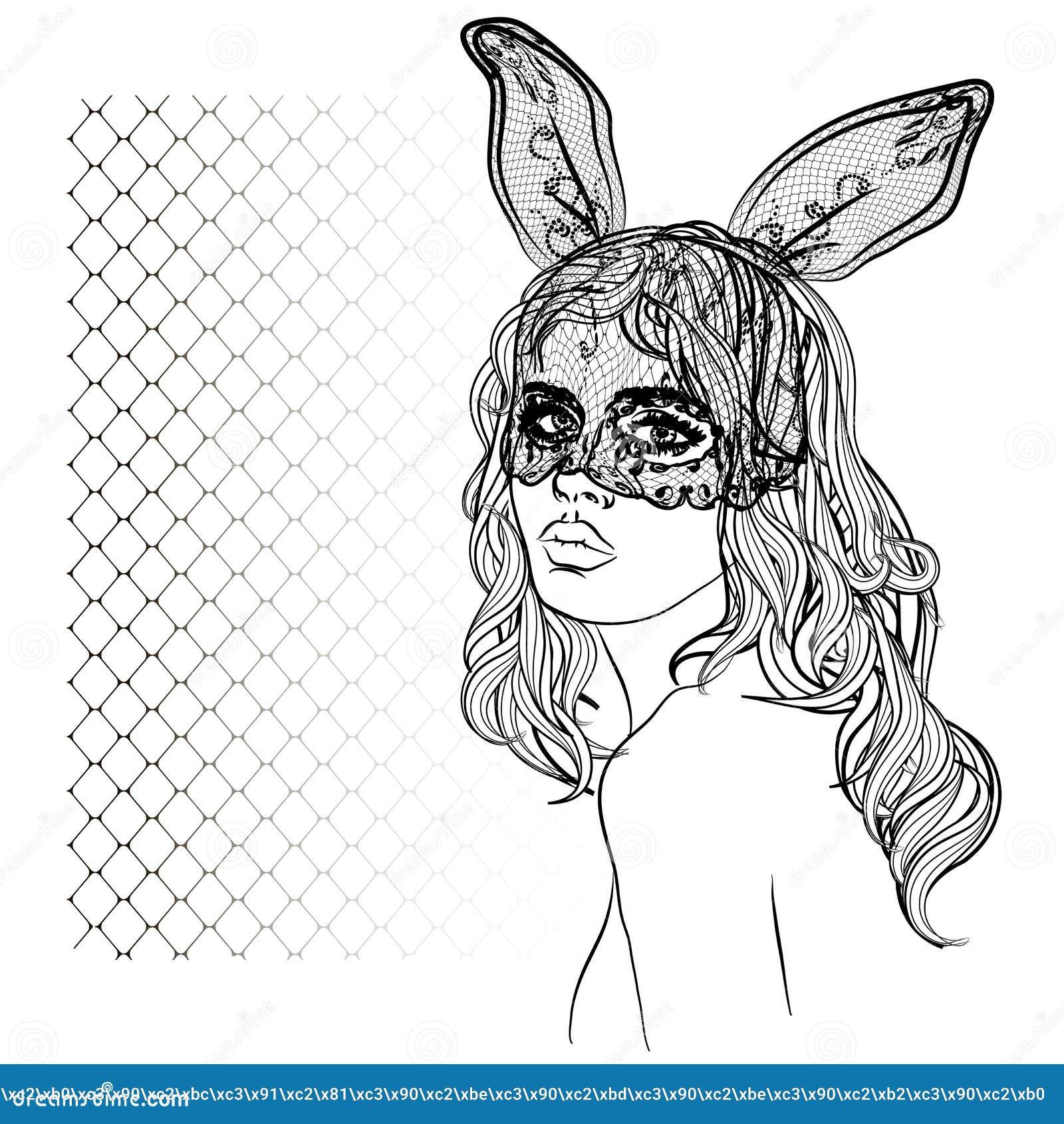 Download Manierillustratie Met Damegezicht En Konijnmeisje Met Een Masker Vector Illustratie - Illustratie bestaande uit decoratief, boek: 104627199