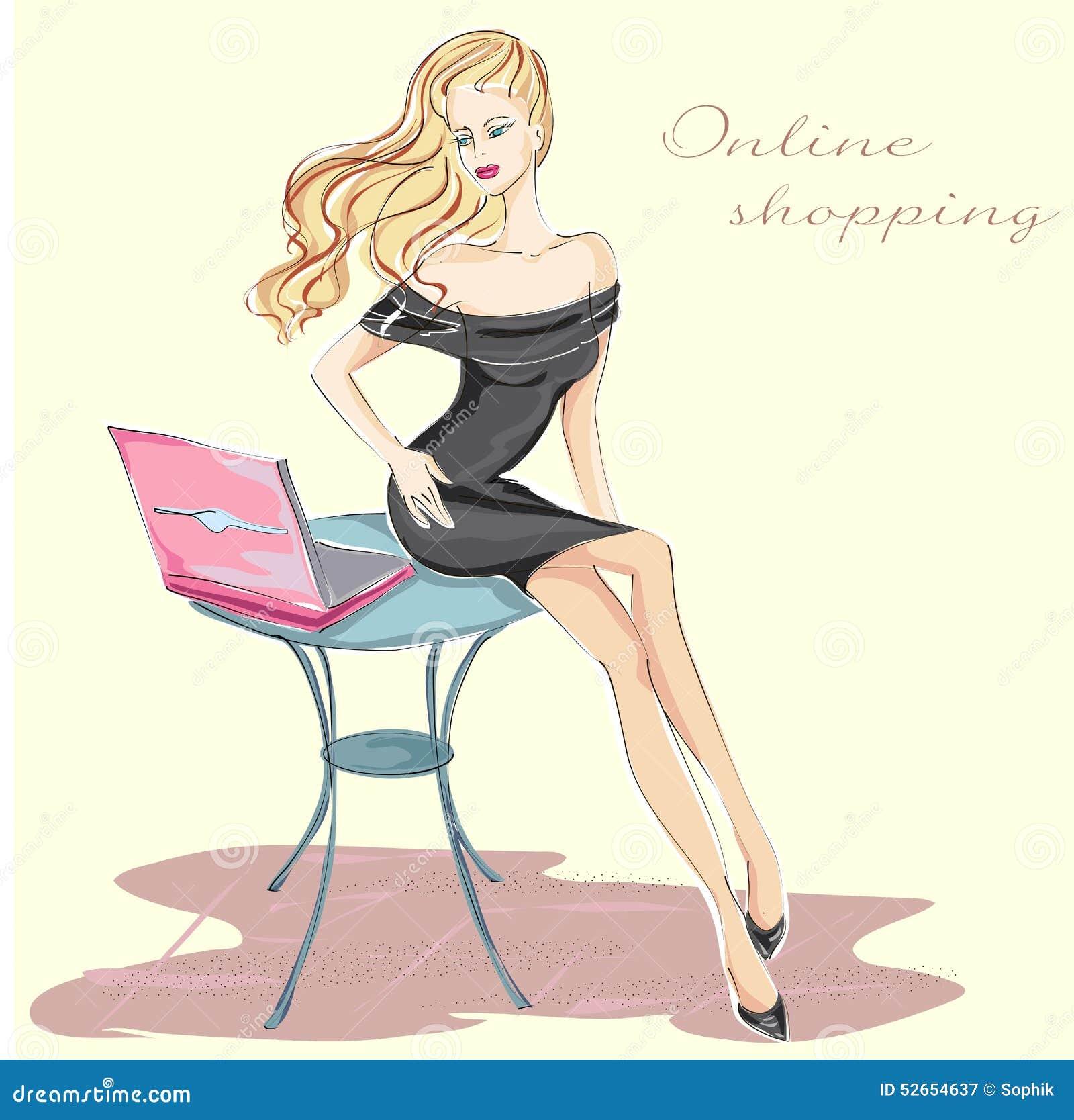 Maniermeisje die met laptop online winkelen