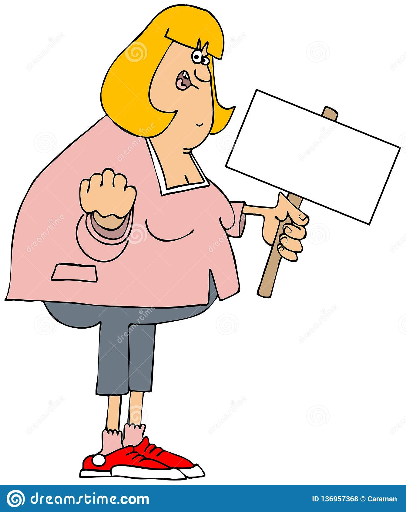 Manifestante enojado de la mujer blanca