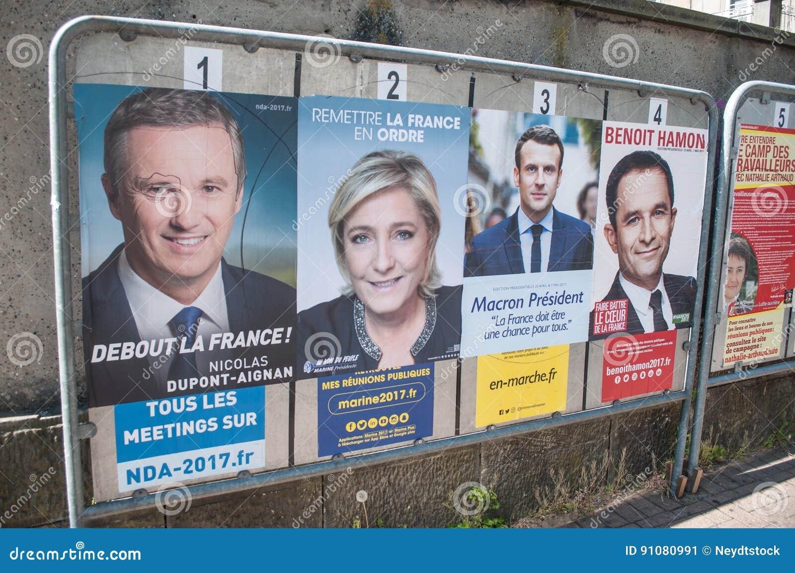Manifesti ufficiali di campagna dei capi di partito politico un degli undici candidati che corrono nel electi presidenziale franc