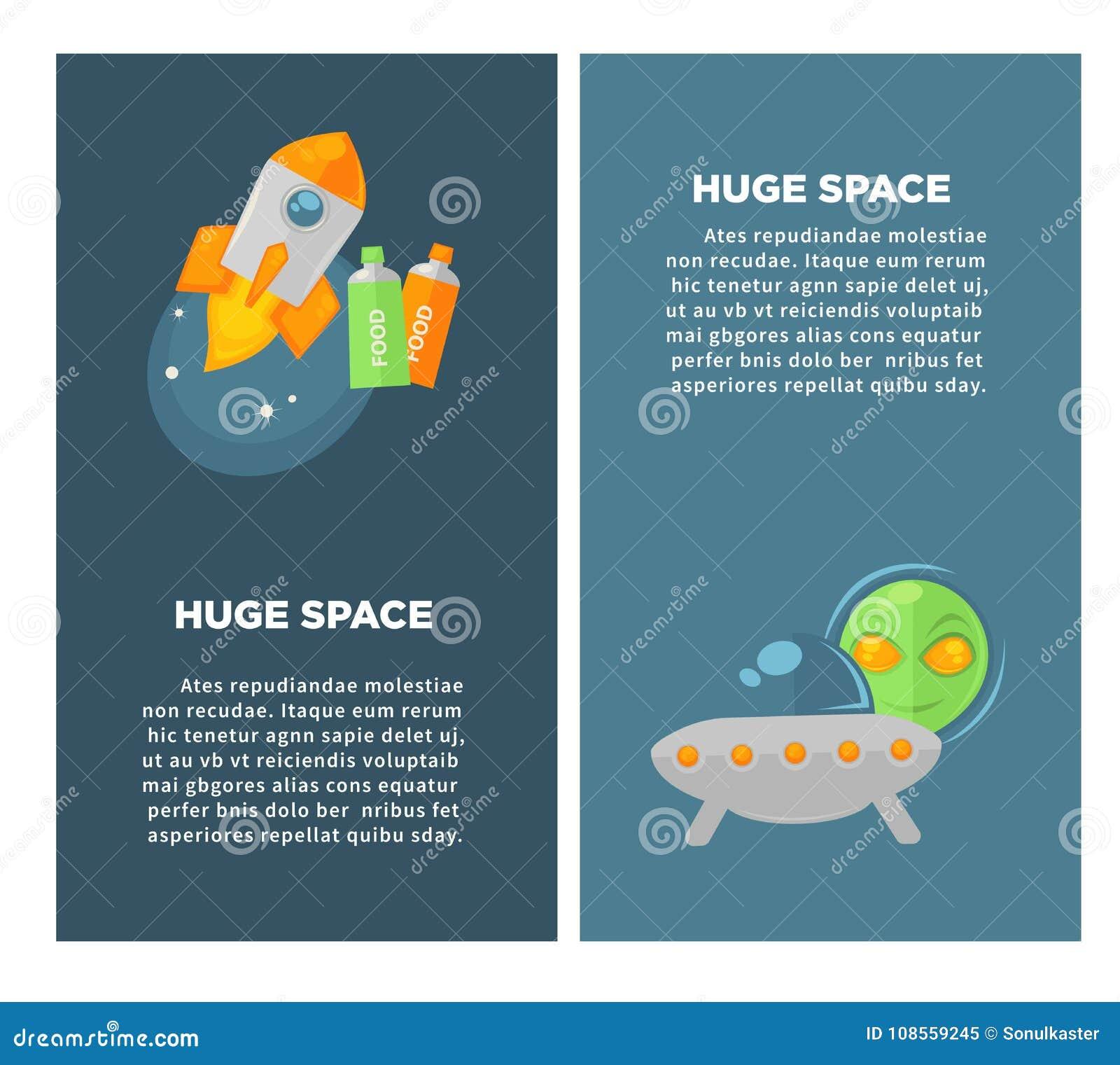 Manifesti verticali promozionali dello spazio enorme con i grandi veicoli spaziali