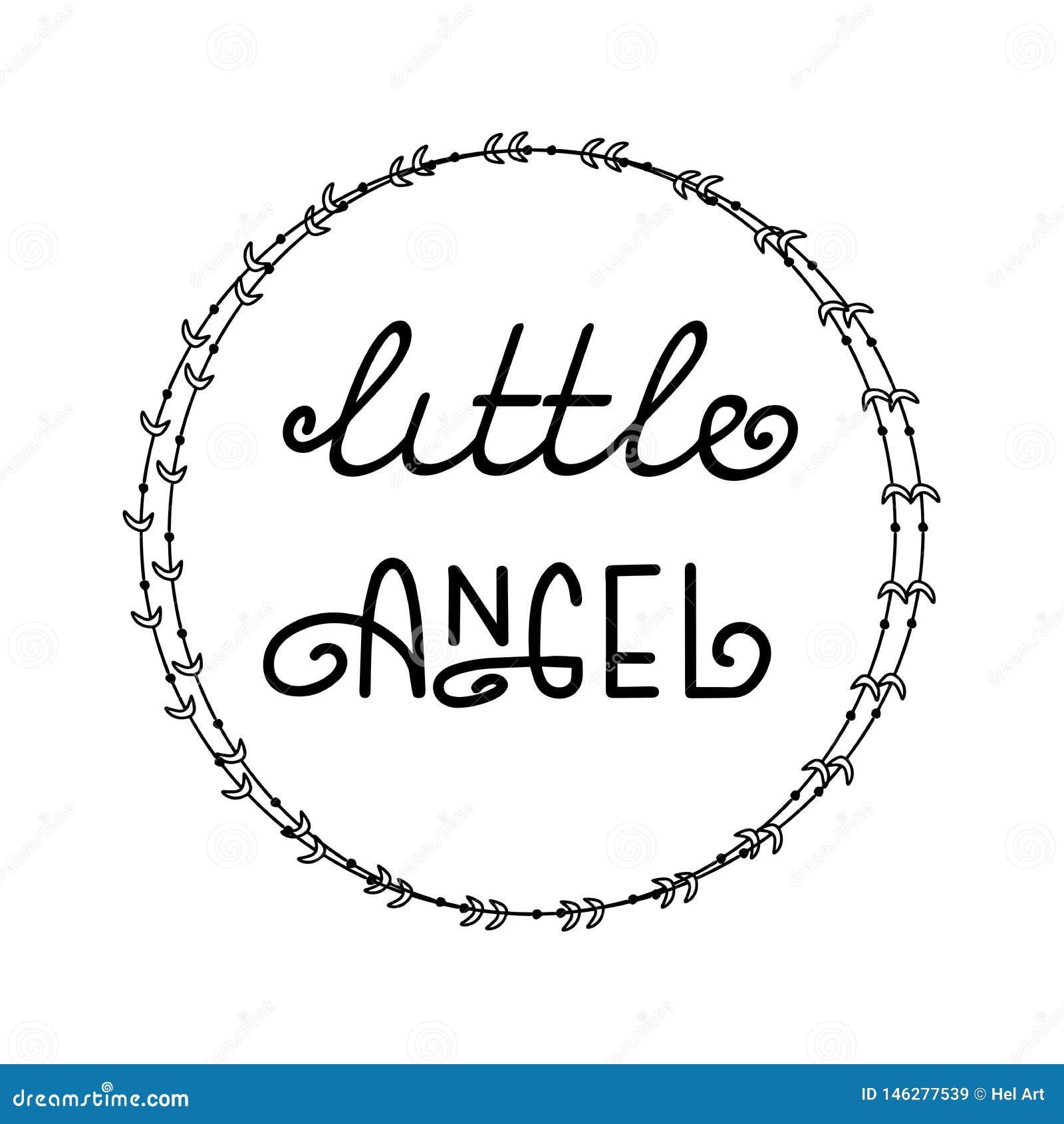 Manifesto con il piccolo angelo di frase