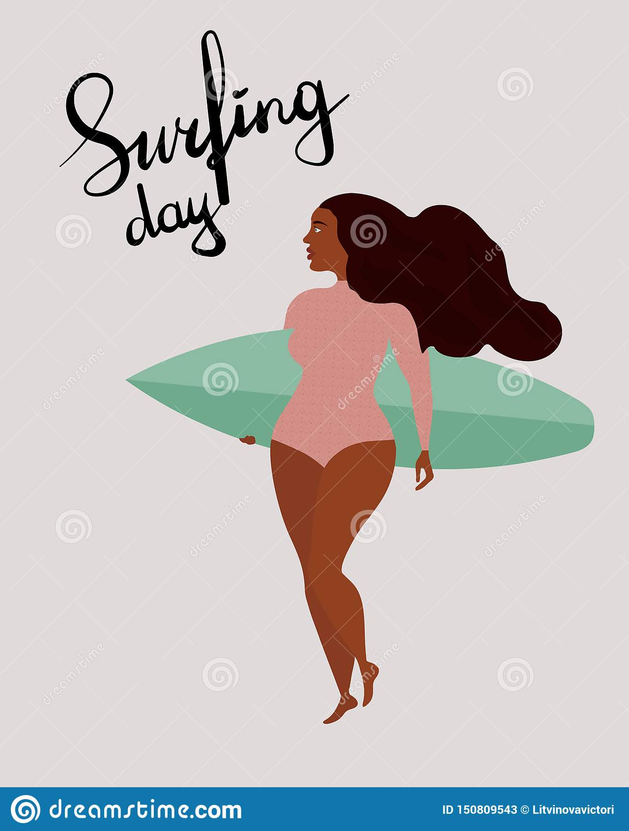 Manifesto con la ragazza nera del surfista con il surf Iscrizione del giorno con lettere praticante il surfing internazionale