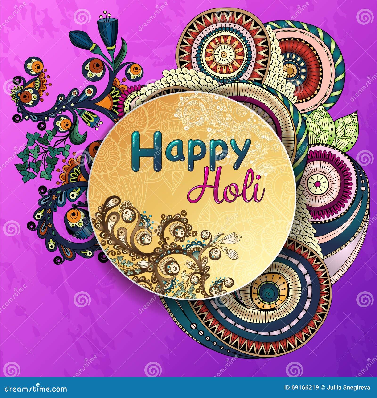 Manifesto del modello di vettore Celebrazioni felici di Holi di festival indiano con il fondo disegnato a mano delle mandale