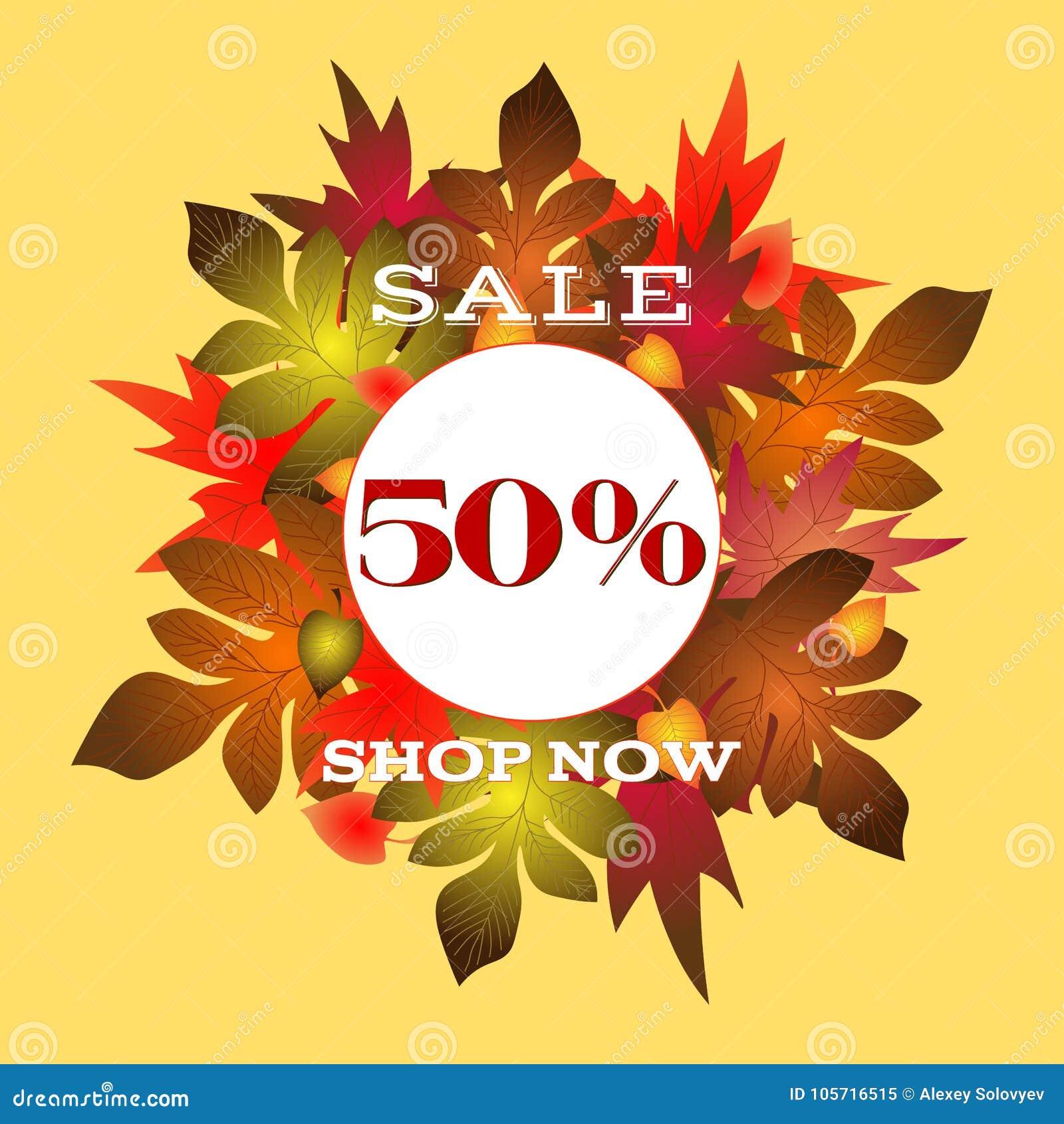 Manifesto di vendite di autunno con bella iscrizione