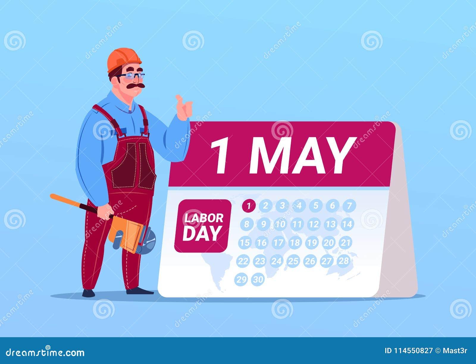 Manifesto felice di festa del lavoro del 1° maggio con il calendario di Or Engineer Over del costruttore