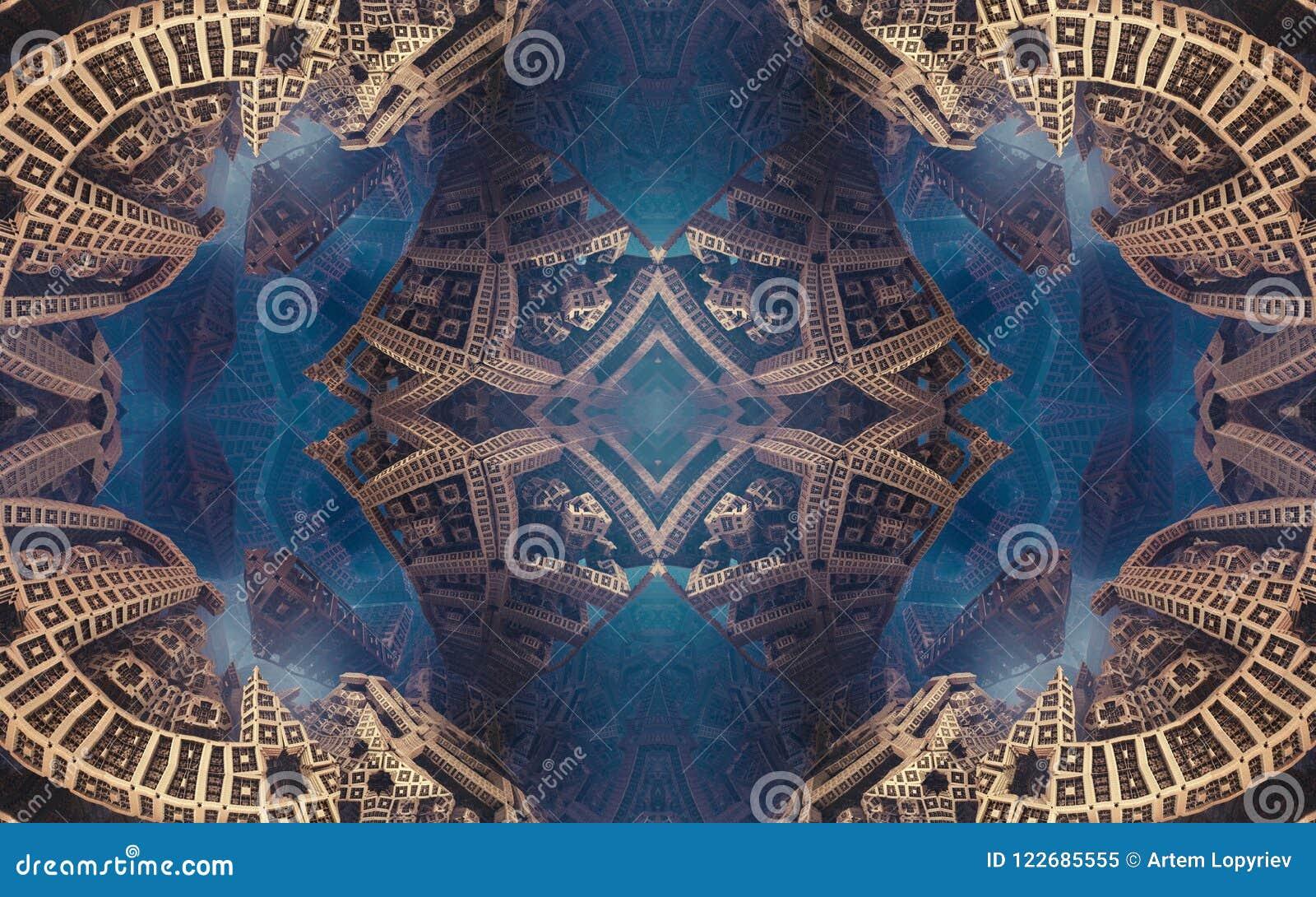 Manifesto o fondo fantastico astratto epico Vista futuristica dall interno del frattale Modello nella forma di frecce