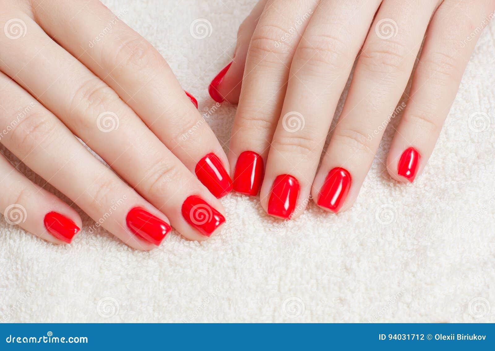 Maniküre - Schönheitsbehandlungsfoto von netten manikürten Frauenfingernägeln mit rotem Nagellack