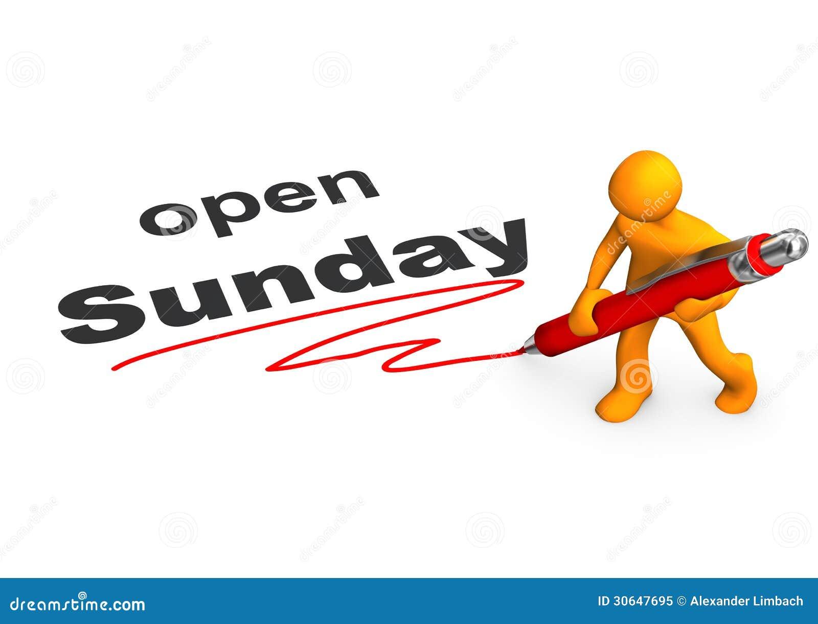 Manikin Ballpen Open Sunday Stock Illustration