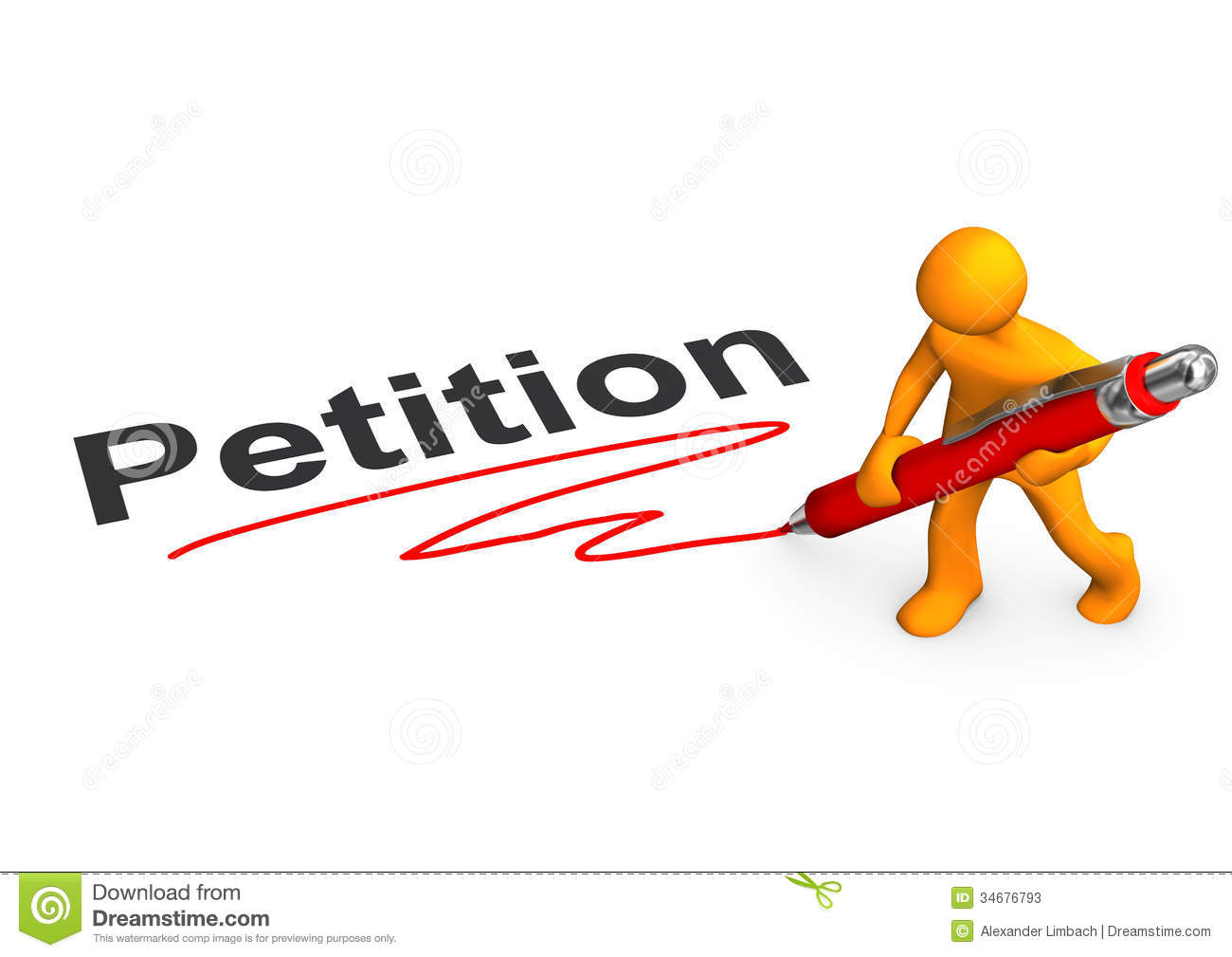 Orange cartoon character with ballpen and text Petition.