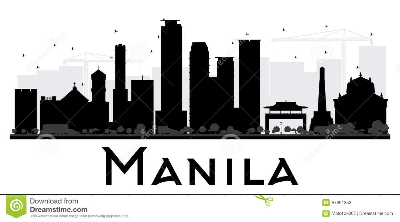 Manila City Skyline Black And White Silhouette. Stock ... Modern Office With People