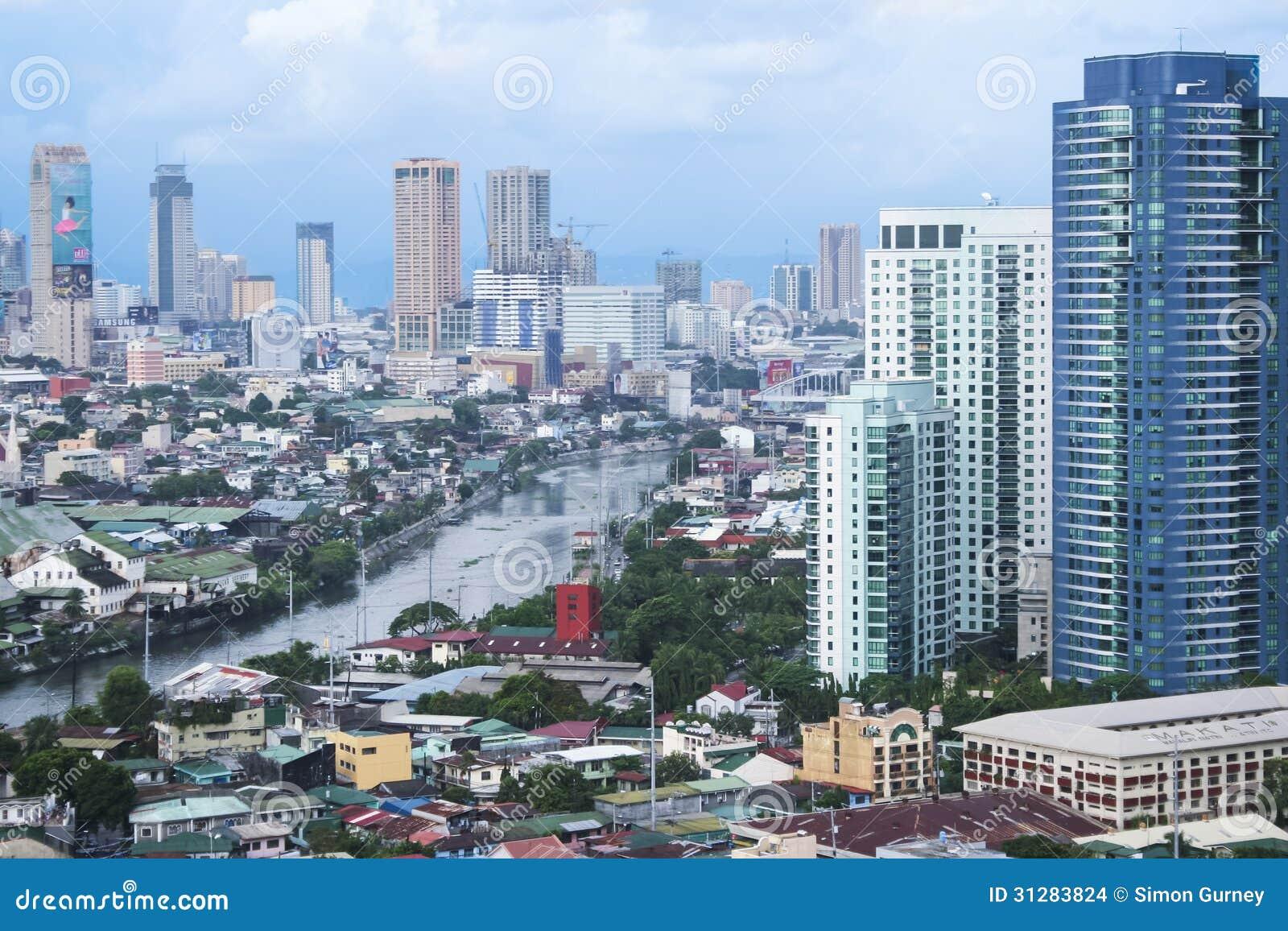 Manila för Pasig flodmakati stad philippines