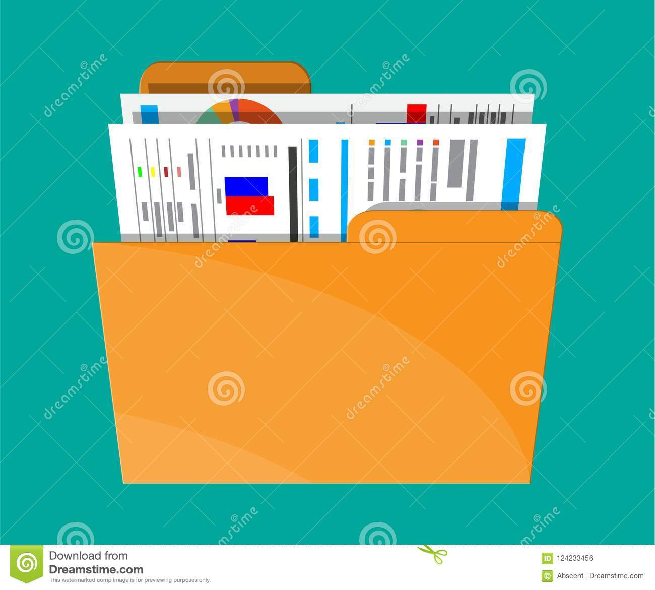 Manila Folder With Financial Report With Charts Stock