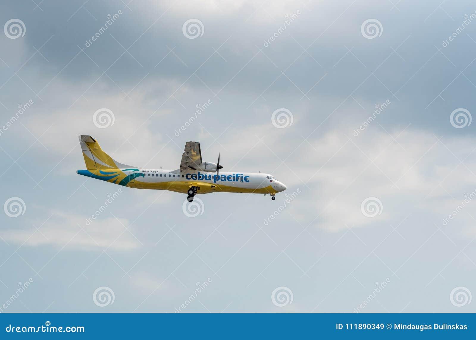 MANILA, PHILIPPINES - FEBRUARY 02, 2018: Cebu Pacific Airlines ATR 72-600 RP-C7287 Landing in Manila International Airport