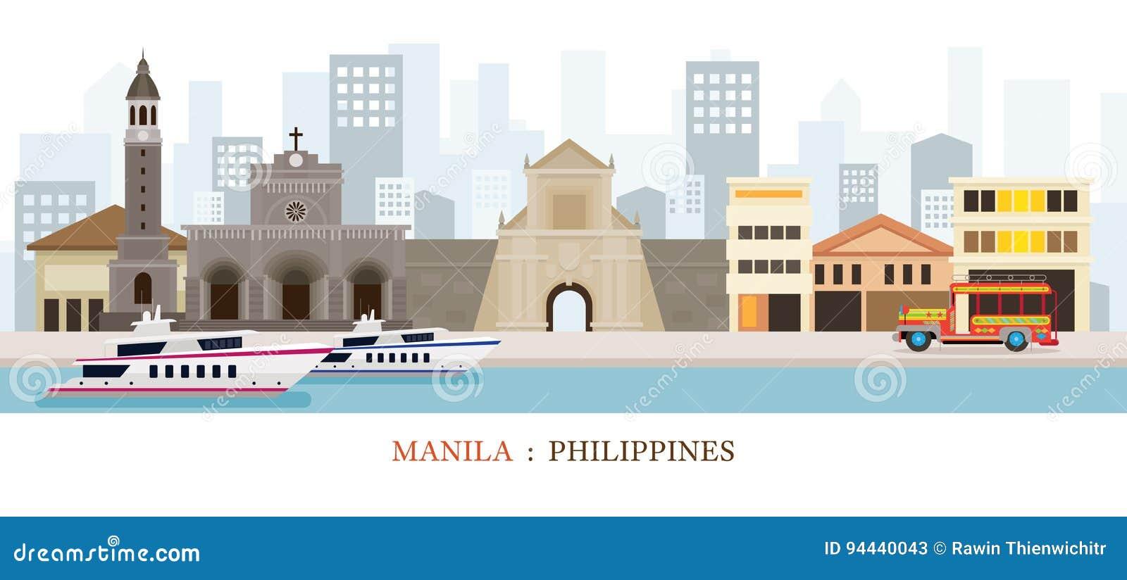 Manila, Philippines Landmarks Skyline