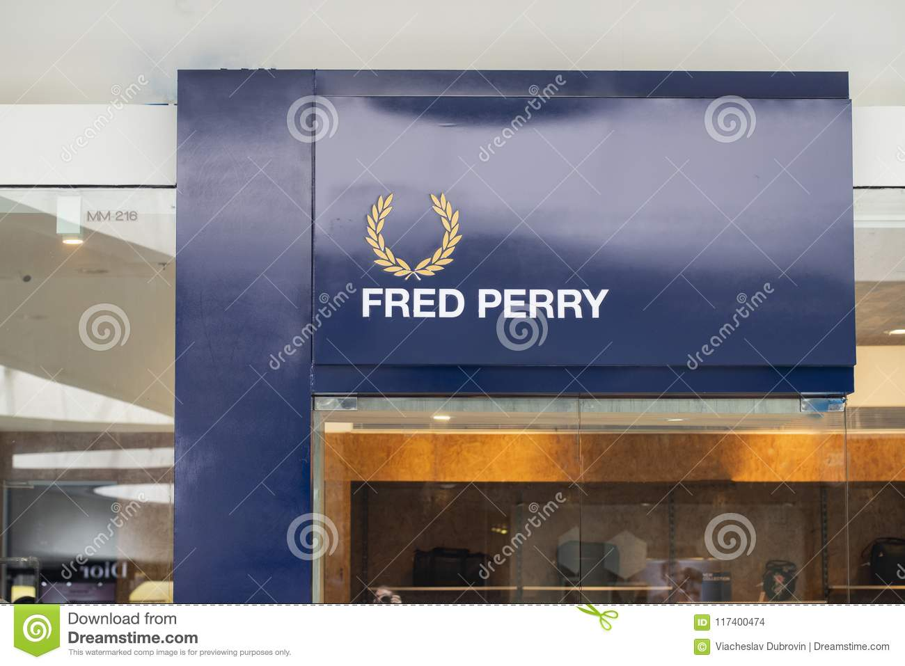 d7c2e0433 Manila, Philippines, 22 March 2018 - Fred Perry brand name on storefront in  SM Mall of Asia shopping mall.
