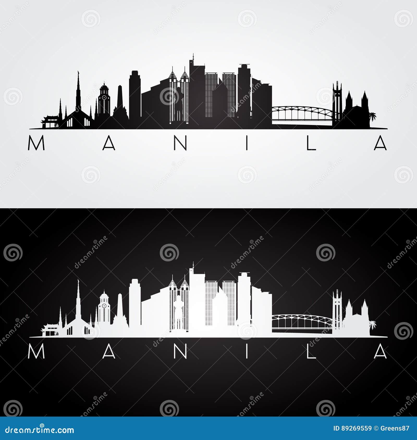 Manila Skyline And Landmarks Silhouette. Stock Vector