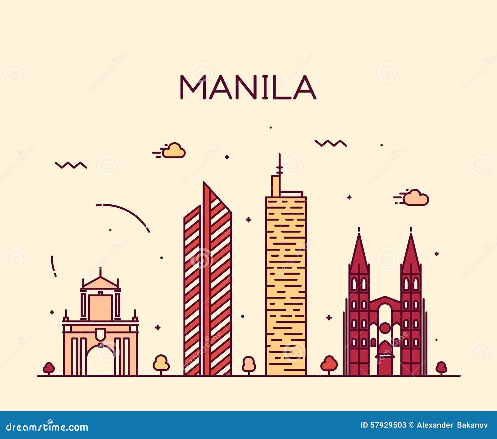 Line Art Vector Illustrator : Manila skyline trendy vector illustration linear stock
