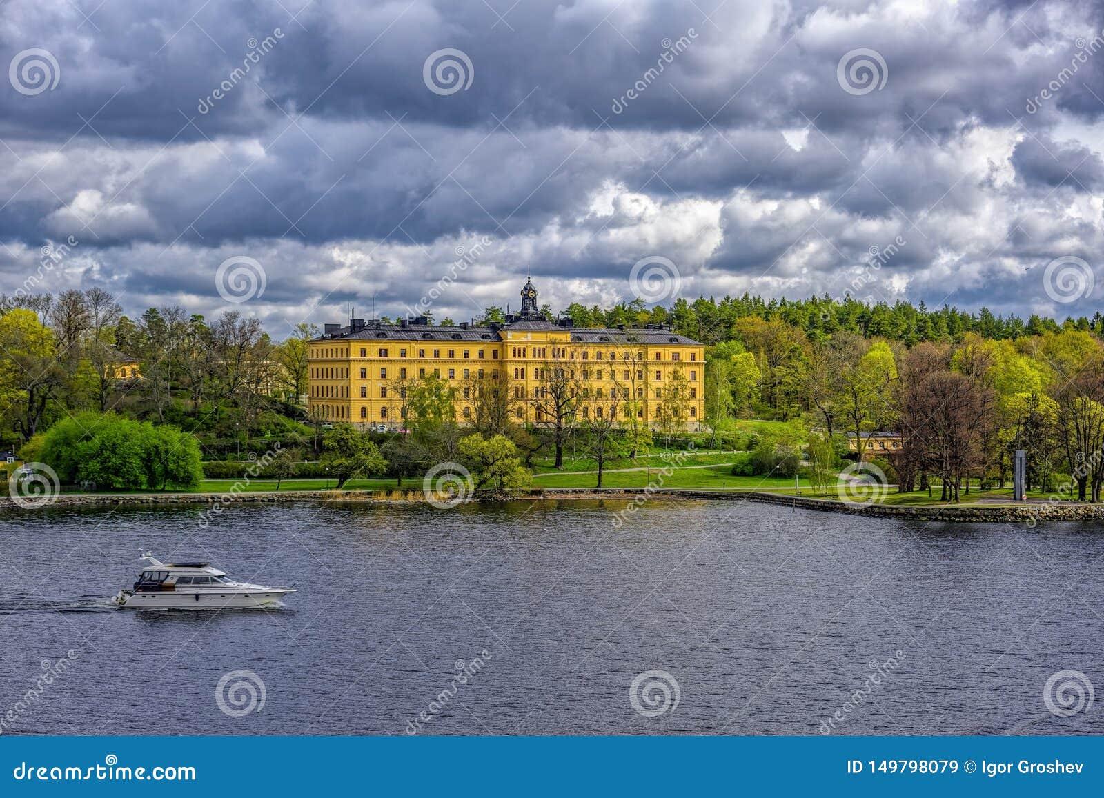 Manilla campus, school building, Stockholm, Sweden at sunny spring morning