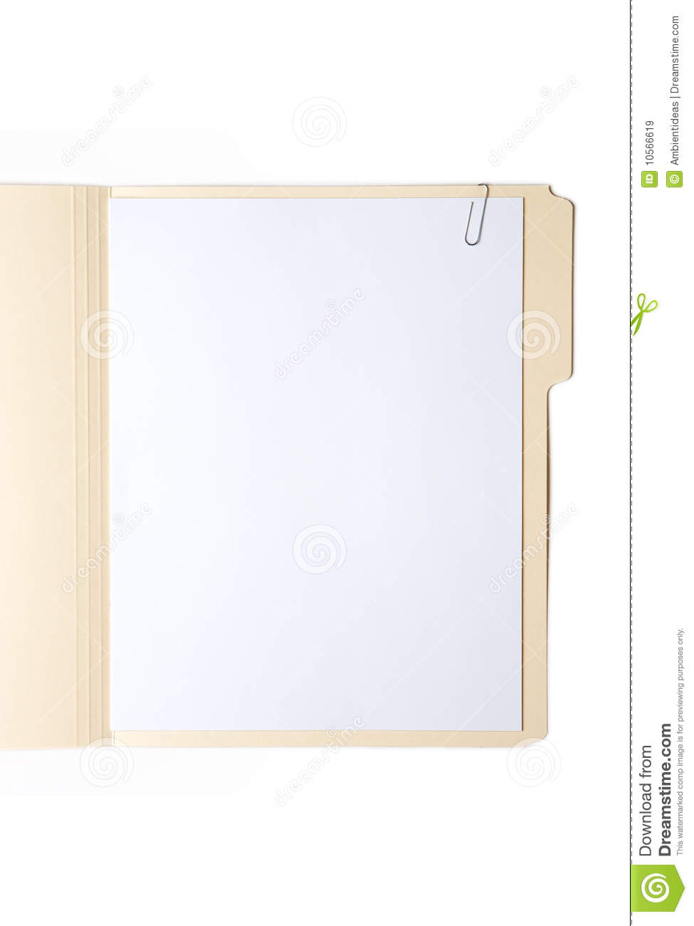 The Folder Of Cute Guys: Manilla Folder With Paper And Clip Stock Image