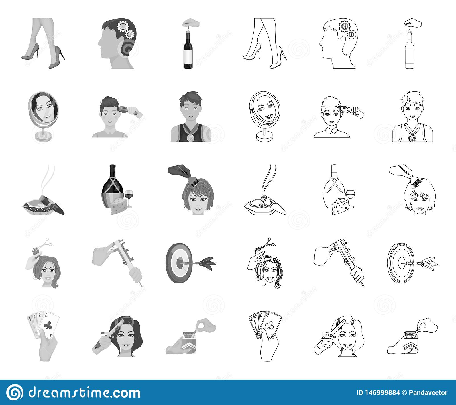 Manipulation by hands mono,outline icons in set collection for design. Hand movement vector symbol stock web