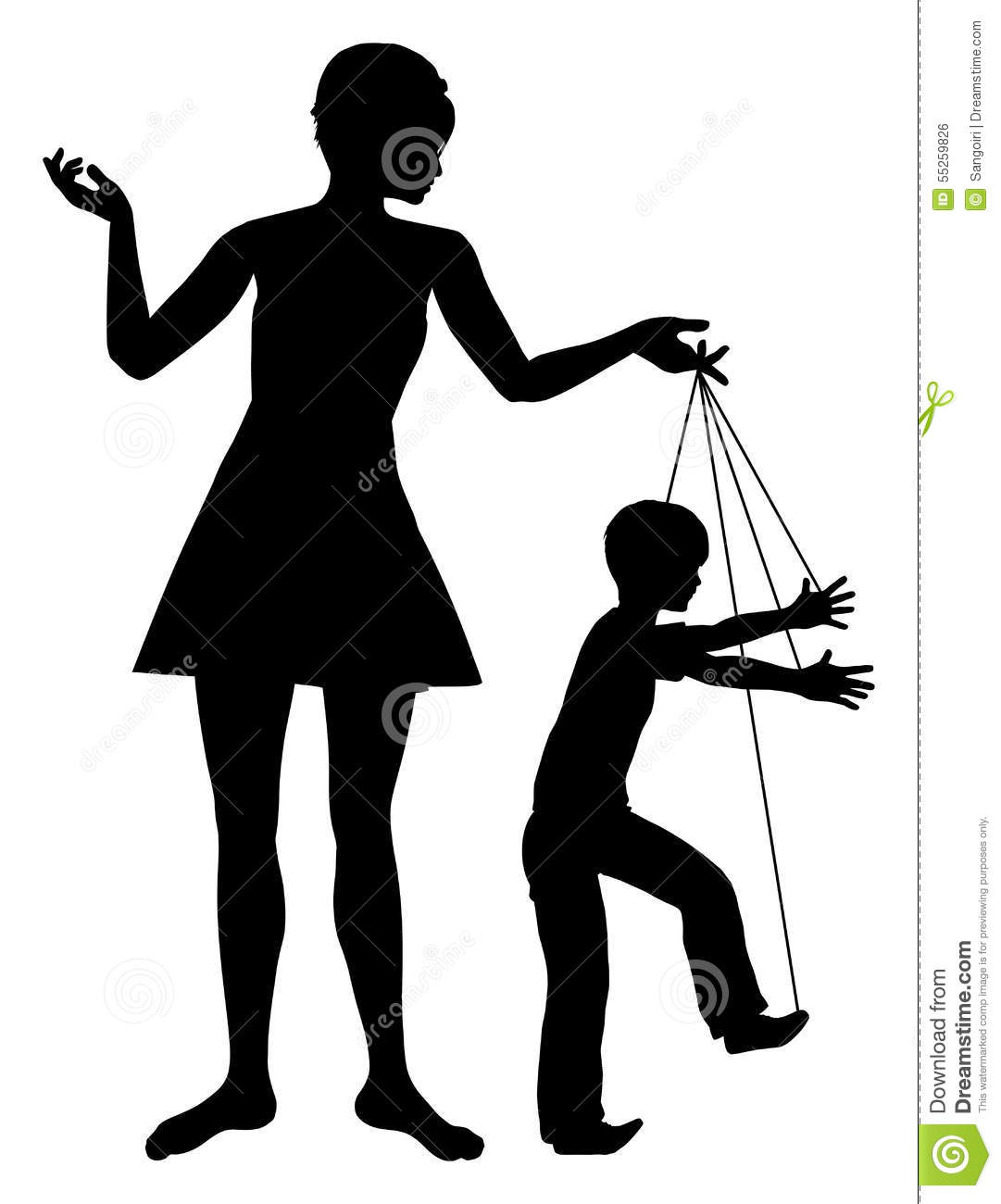 Concept sign of parent manipulating her child like a marionette.