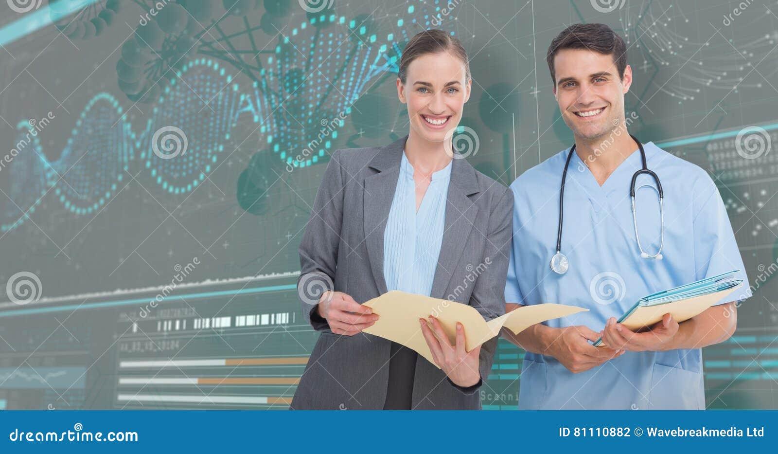 Manipulerar den sammansatta bilden 3D av ståenden av mannen och kvinnlign att diskutera över rapporter