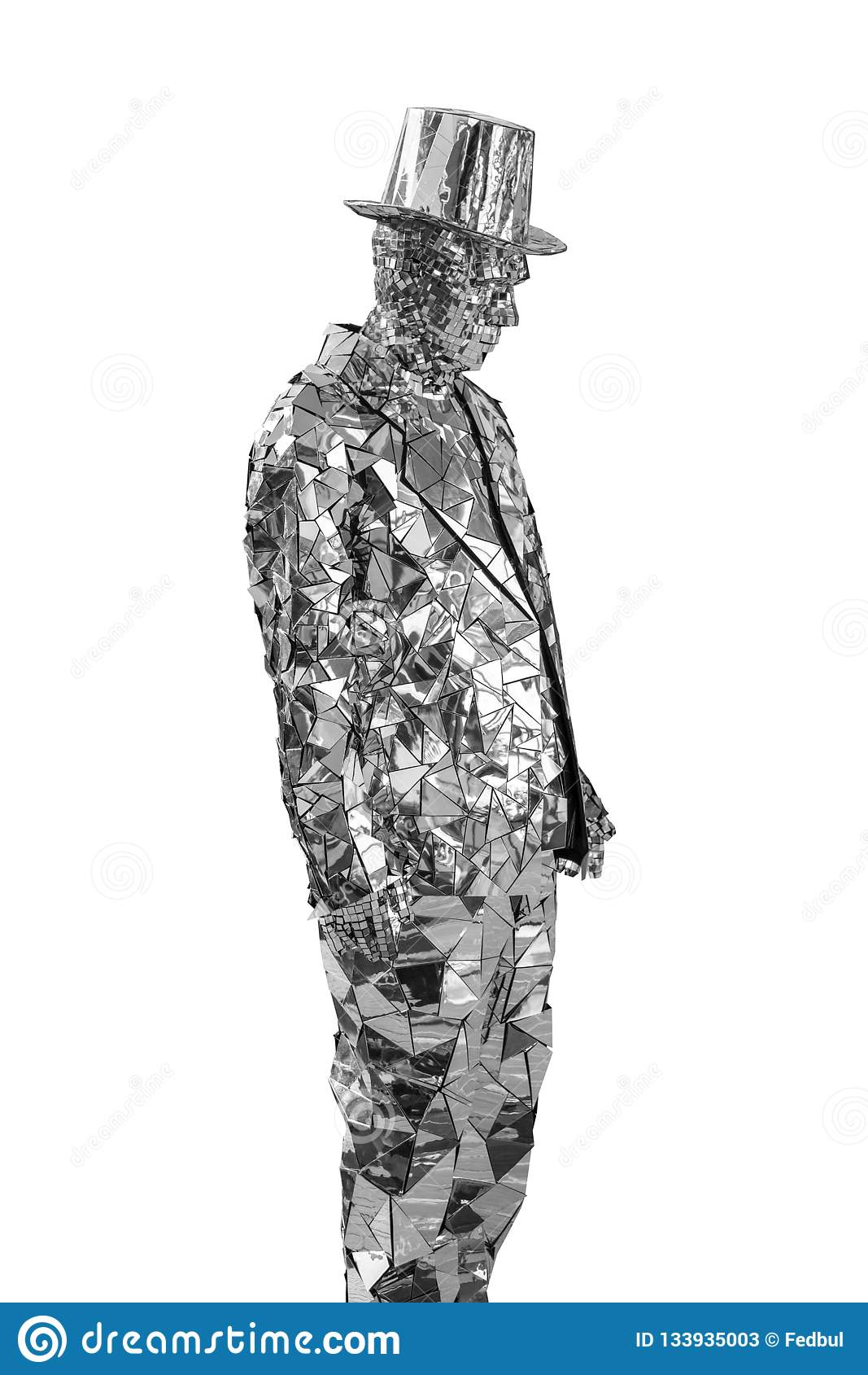 Maniquí del hombre en un traje y un sombrero de copa de los pedazos de espejos de cristal