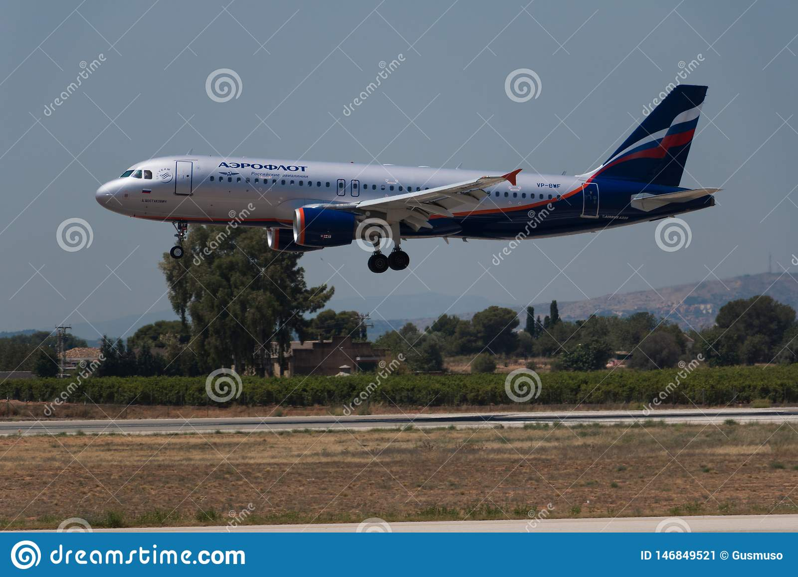Manises, Spain - June 16, 2016: Aeroflot Airbus A320 landing at Manises airport in Valencia, Spain