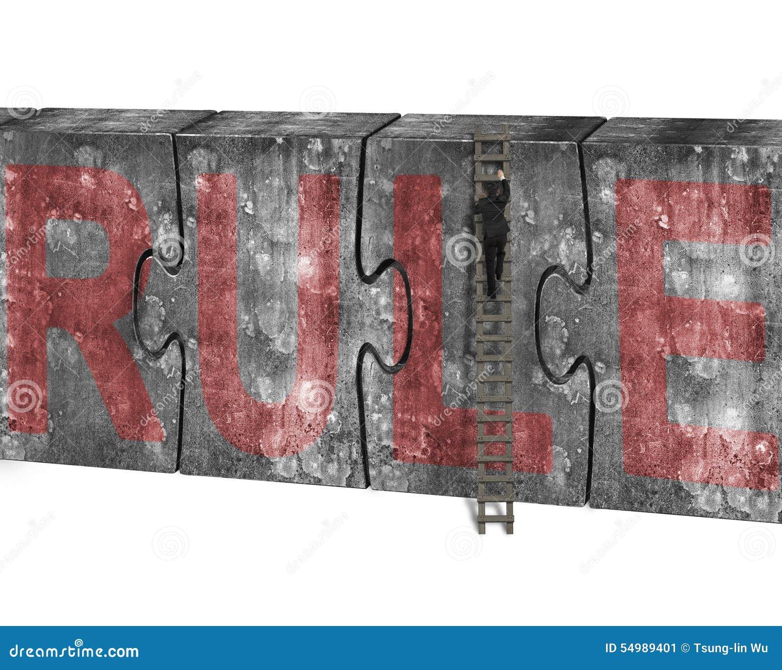 Manklättringstegen förbryllar rött regelord för betongvägg