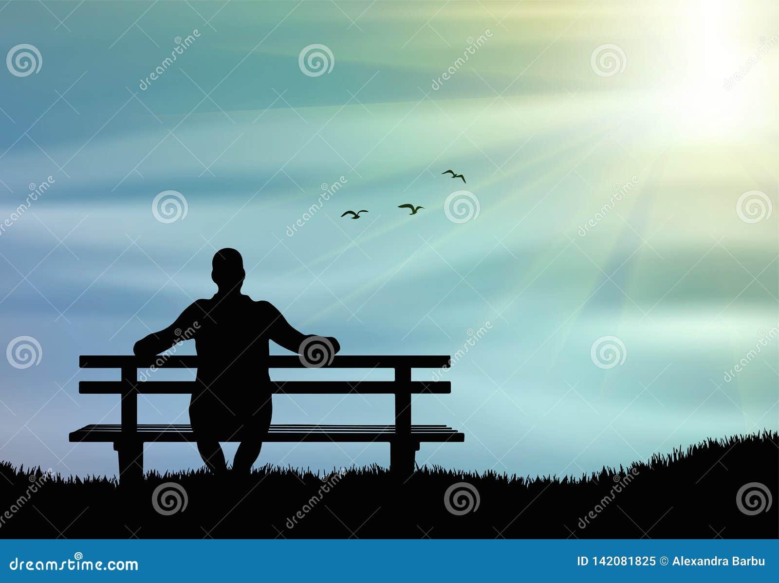Mankontur som bara sitter på bänken på solnedgången och att tänka