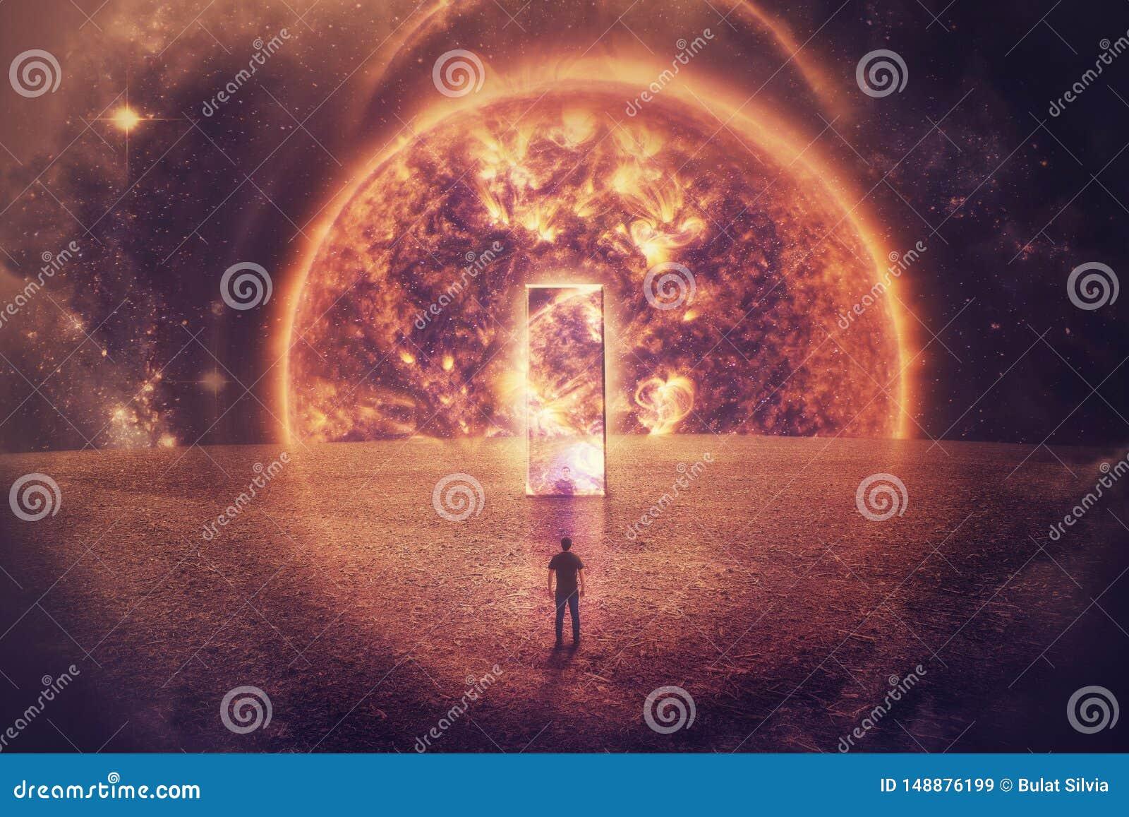 Mankonturn st?r framme av en enorm spegeld?rr p? en imagin?r planet