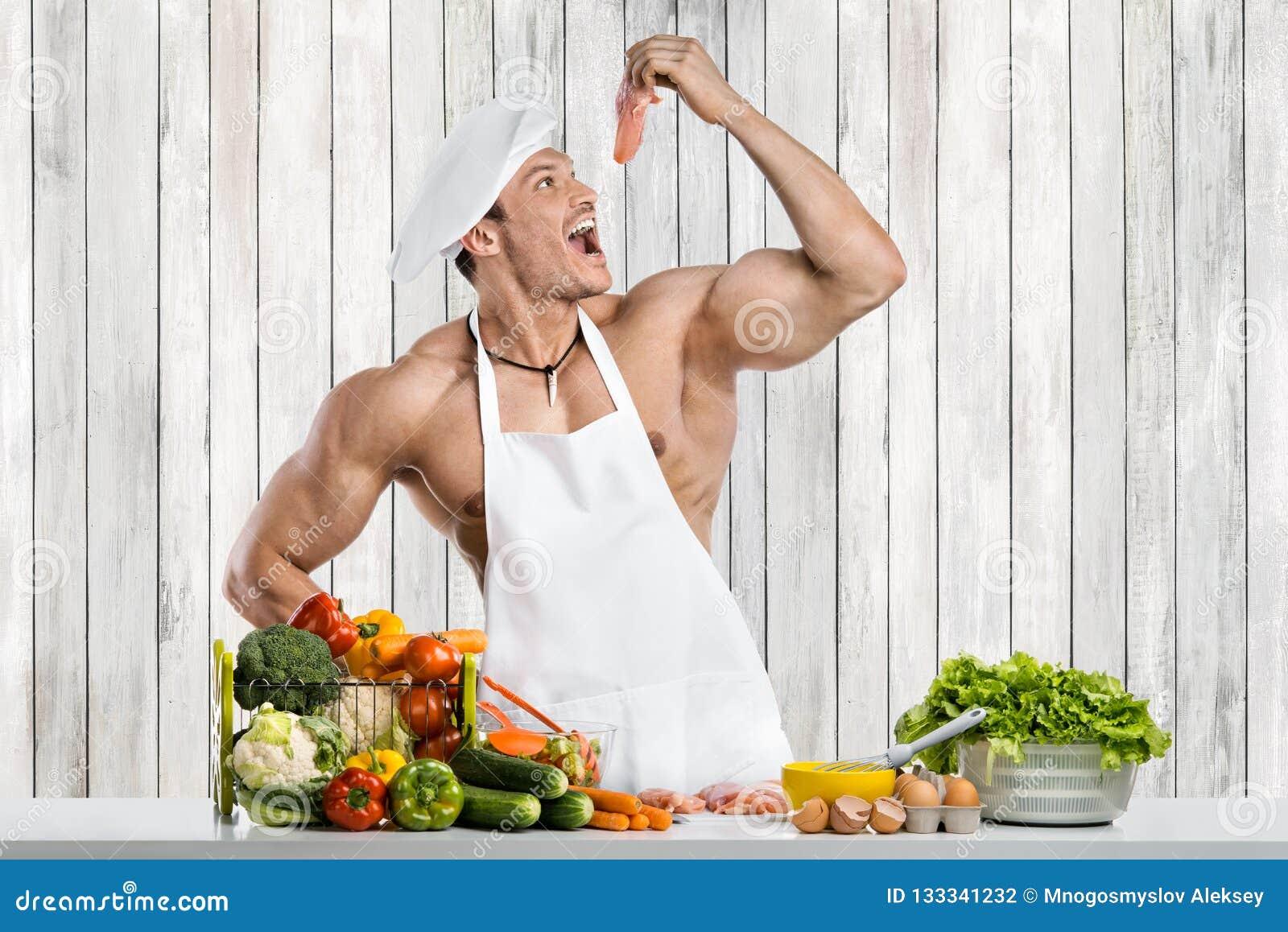 Mankroppsbyggare på kök