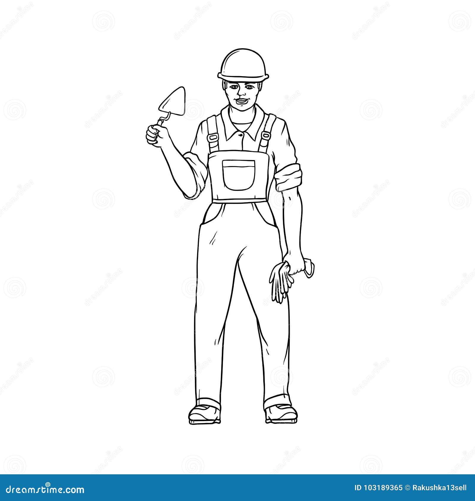 Manlig byggmästare i overaller, hård hatt, murslev och handskar i hans händer Arbetare i konstruktion Folk av yrken
