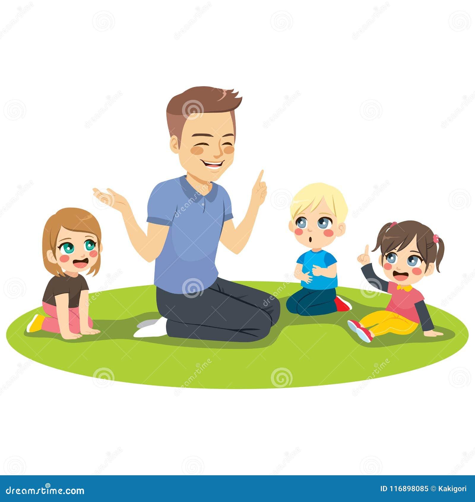 Manlig dagislärare With Kids