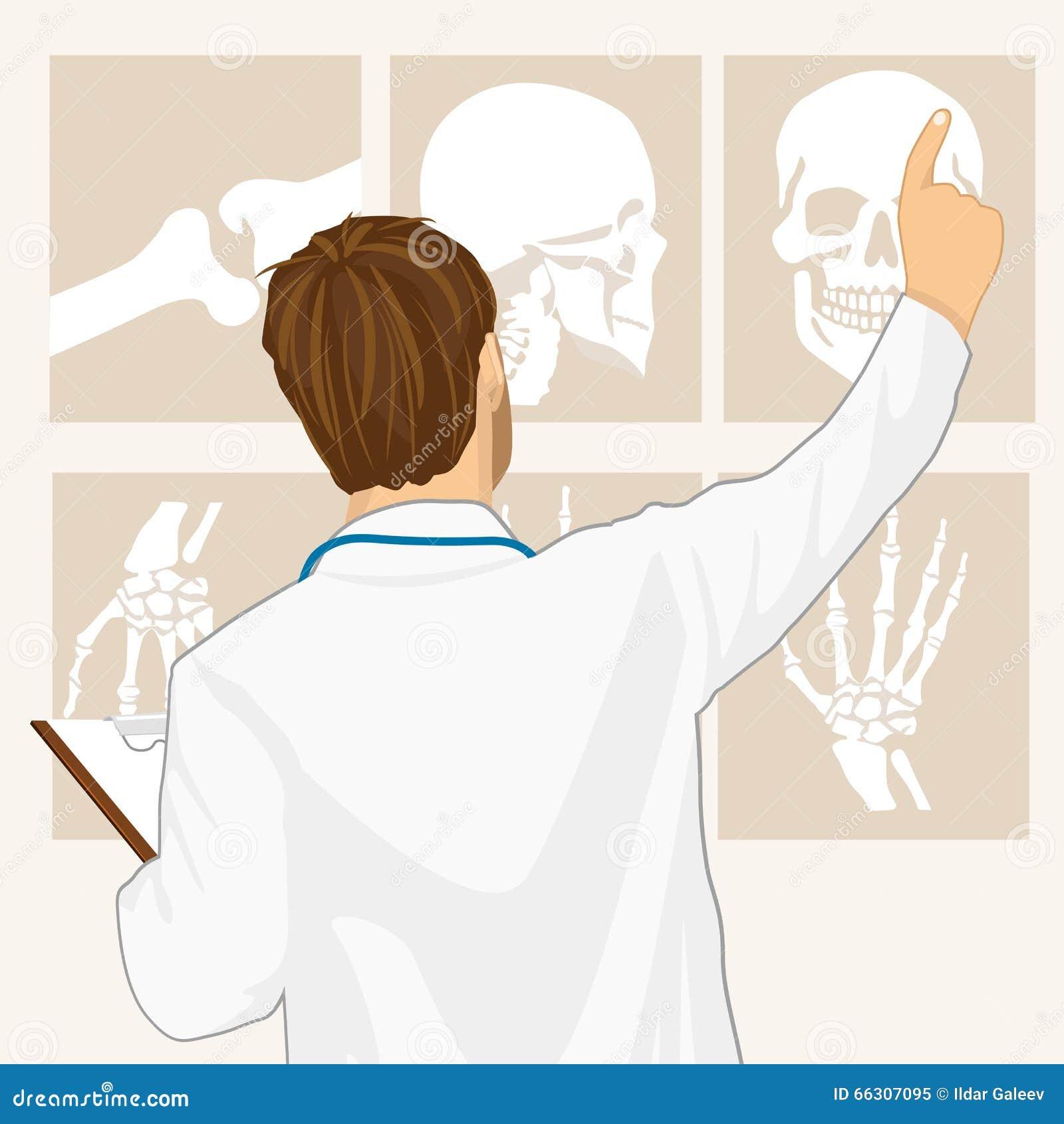 Manlig doktor som pekar på tomography