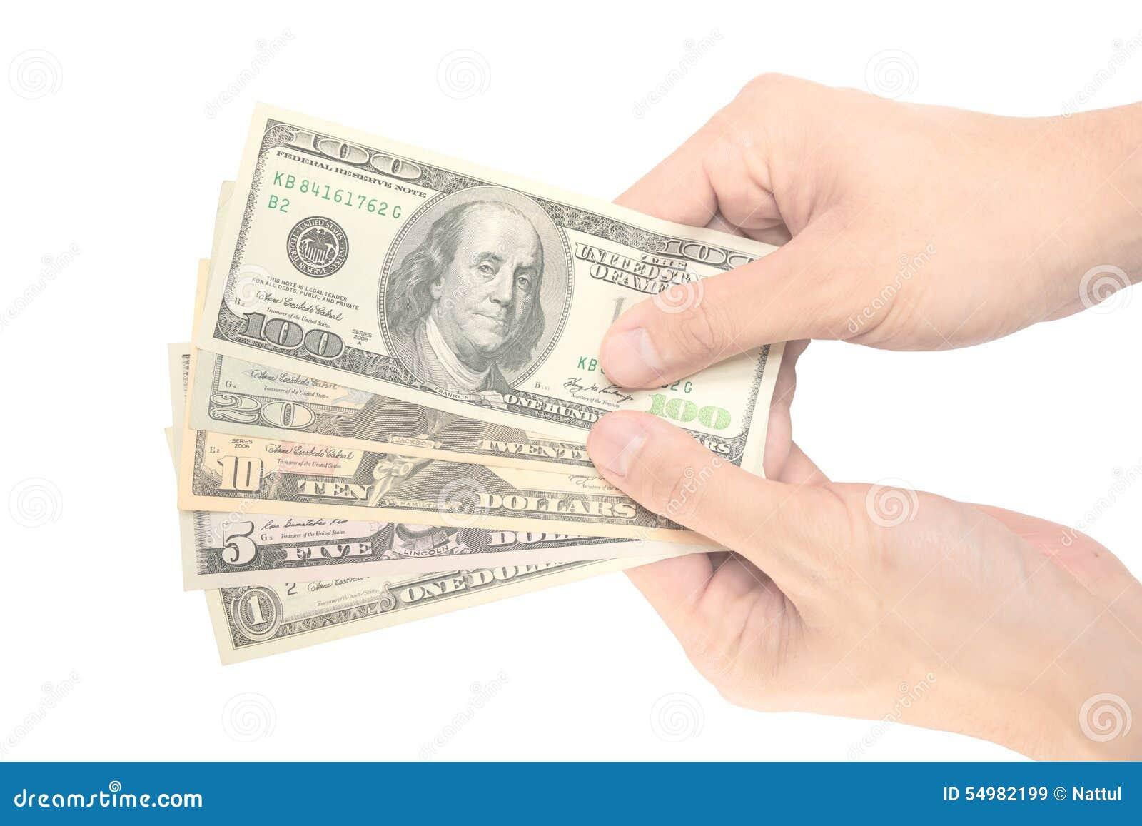 Manlig för hand för erbjudandedollar uppriktigt anmärkning