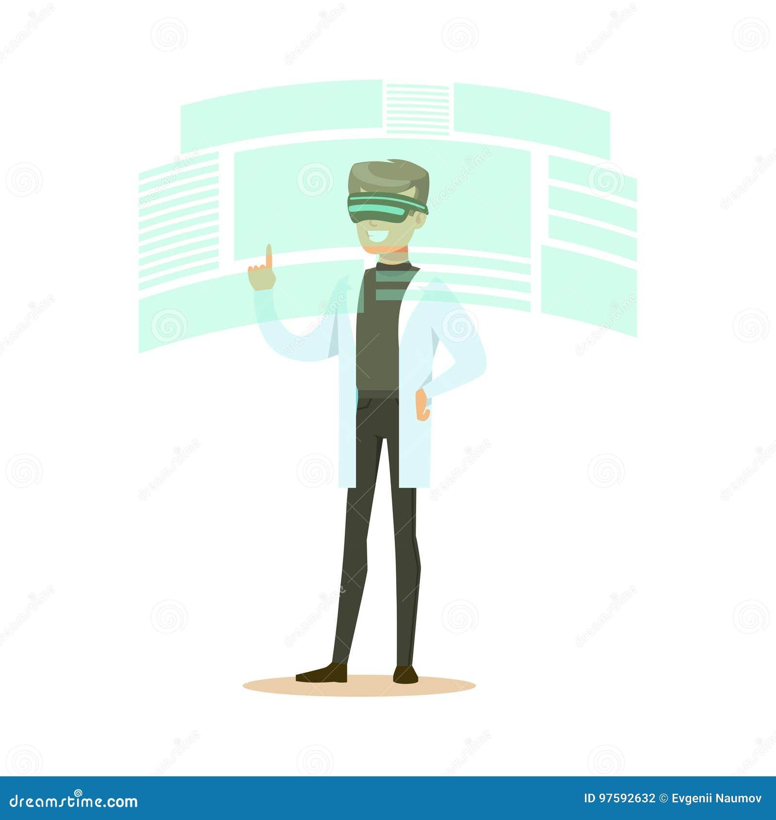 Manlig forskare som bär VR-hörlurar med mikrofon som arbetar i digital simulering, framtida illustration för teknologibegreppsvek