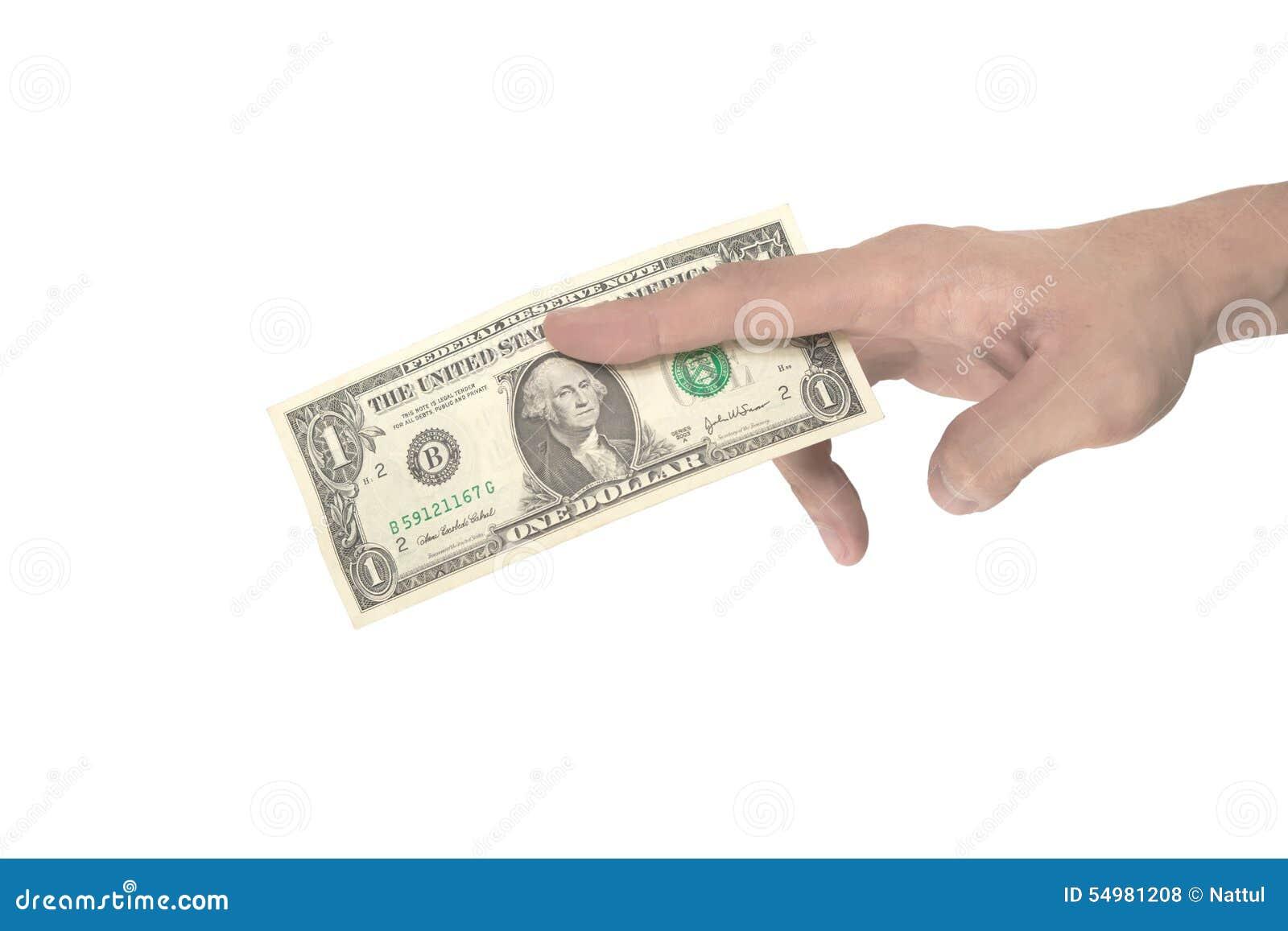 Manlig hand som klämmer dollaranmärkningen