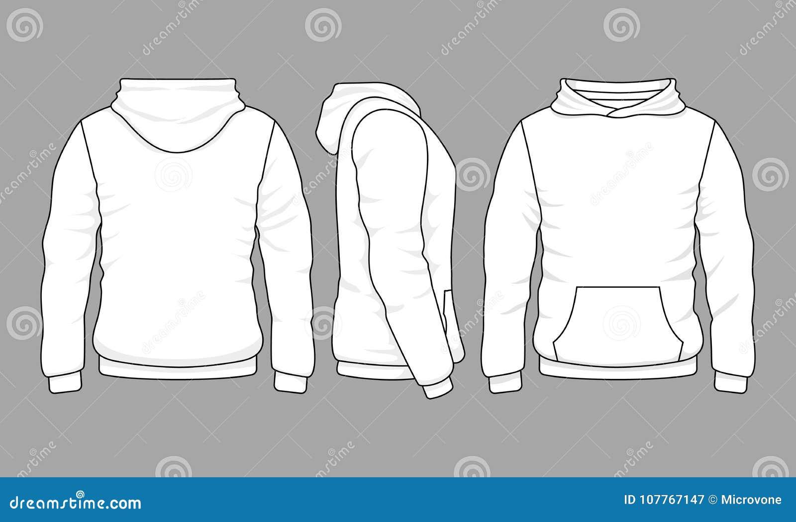 Manlig hoodietröja framme, tillbaka och sidosikter