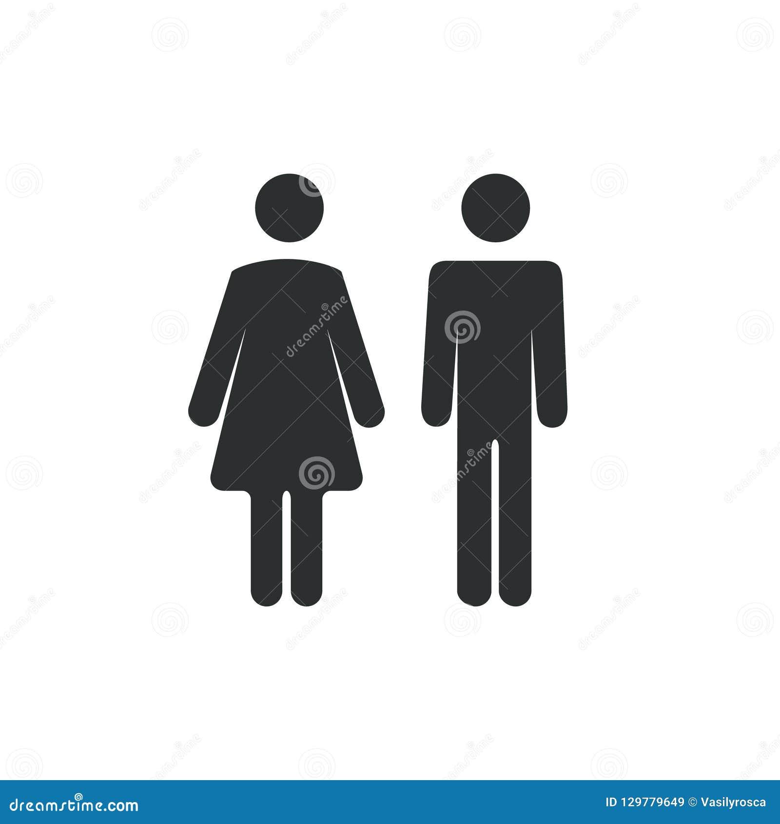 Manlig kvinnlig badrumsymbol Symbol för tecken för toalettpojke- eller flickadam Begrepp för toalettwc-vektor