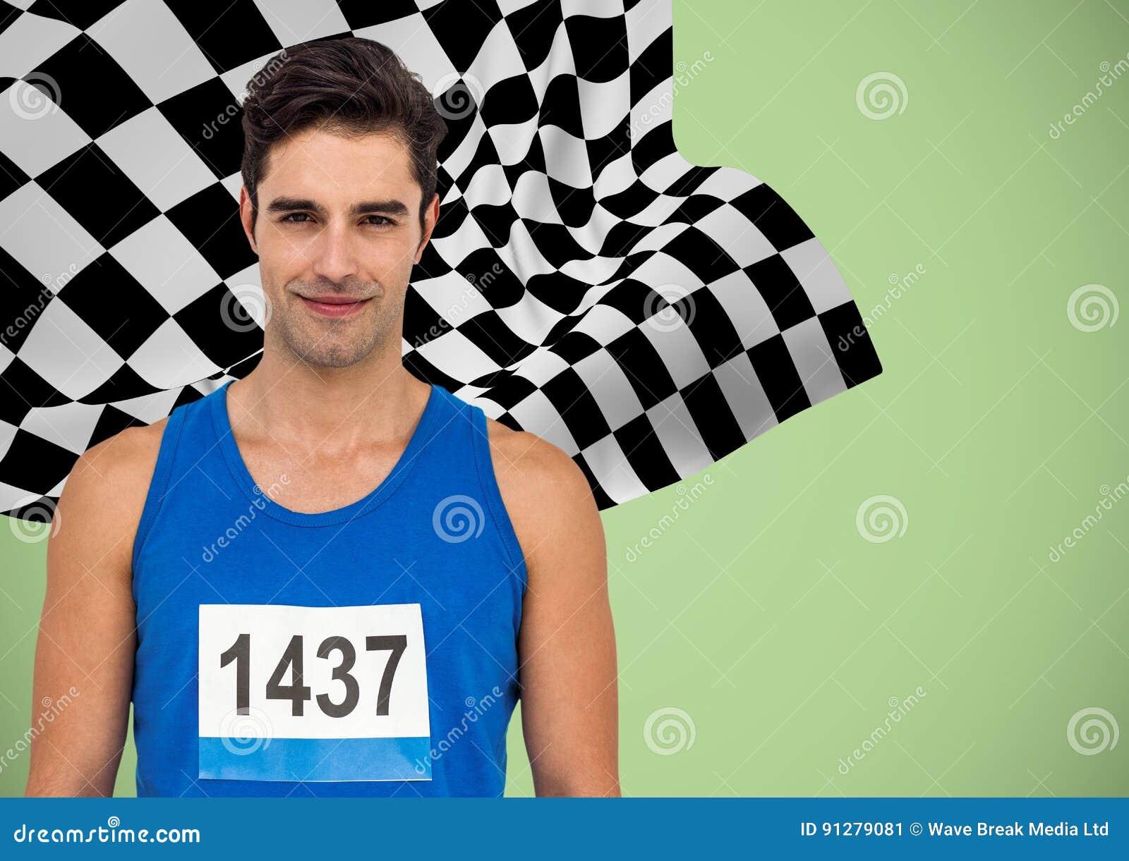 Manlig löpare med nummer på skjortan mot grön bakgrund och rutig flagga