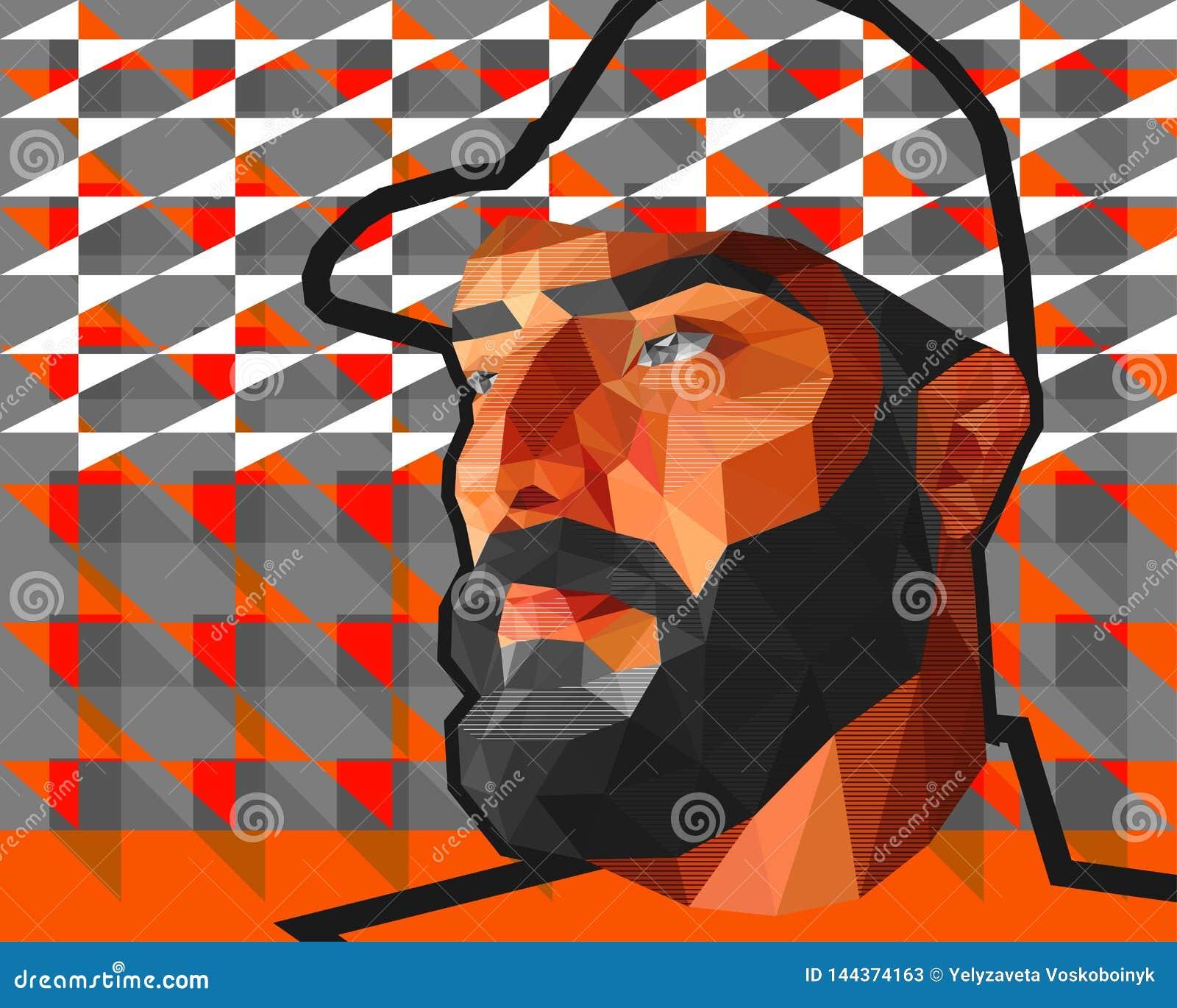 Manlig man för låg polygon i ett lock
